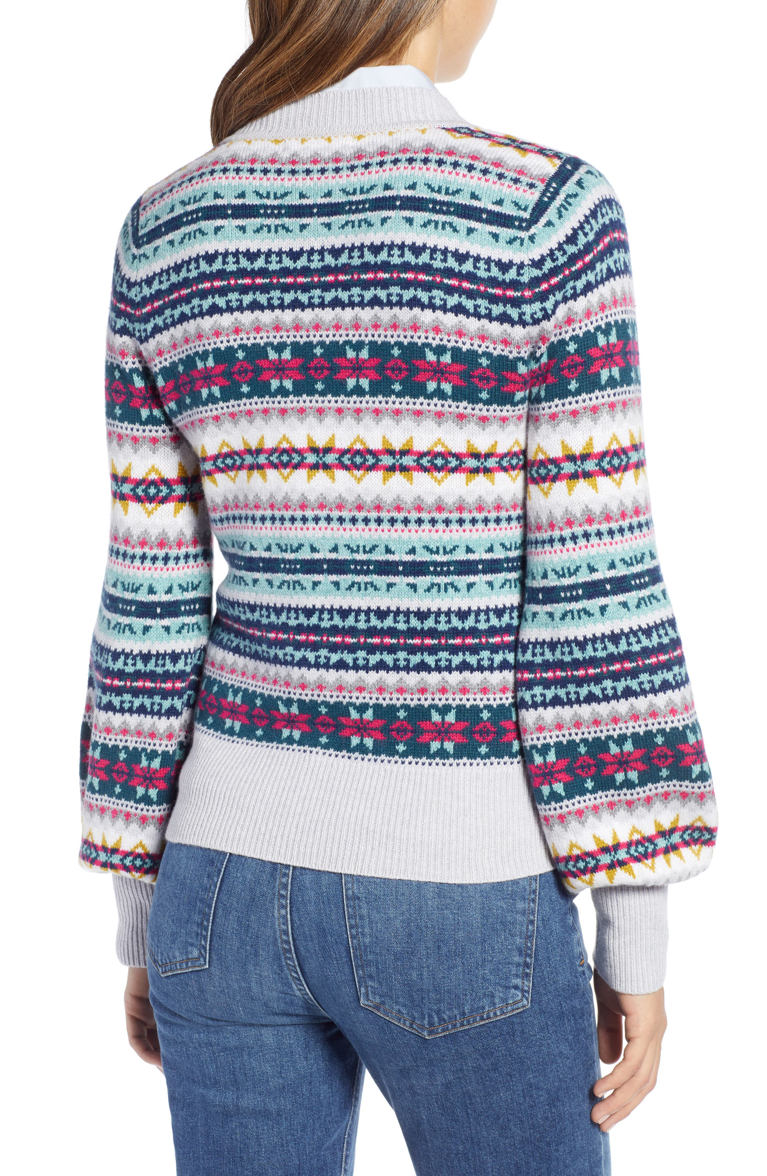 Fair Isle Cotton Wool Sweater,                             Alternate thumbnail 2, color,                             030