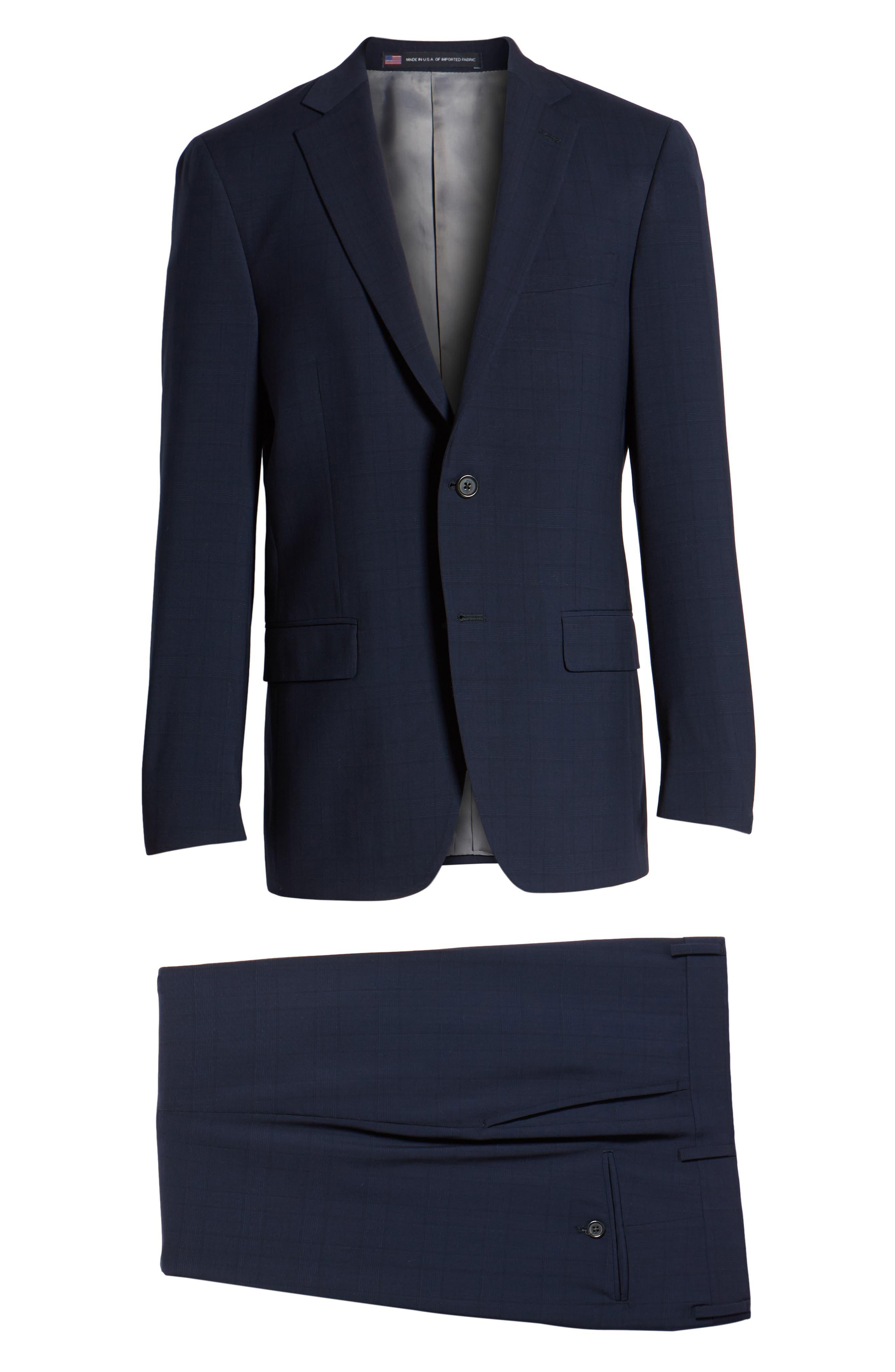 New York Classic Fit Plaid Wool Suit,                             Alternate thumbnail 8, color,                             400