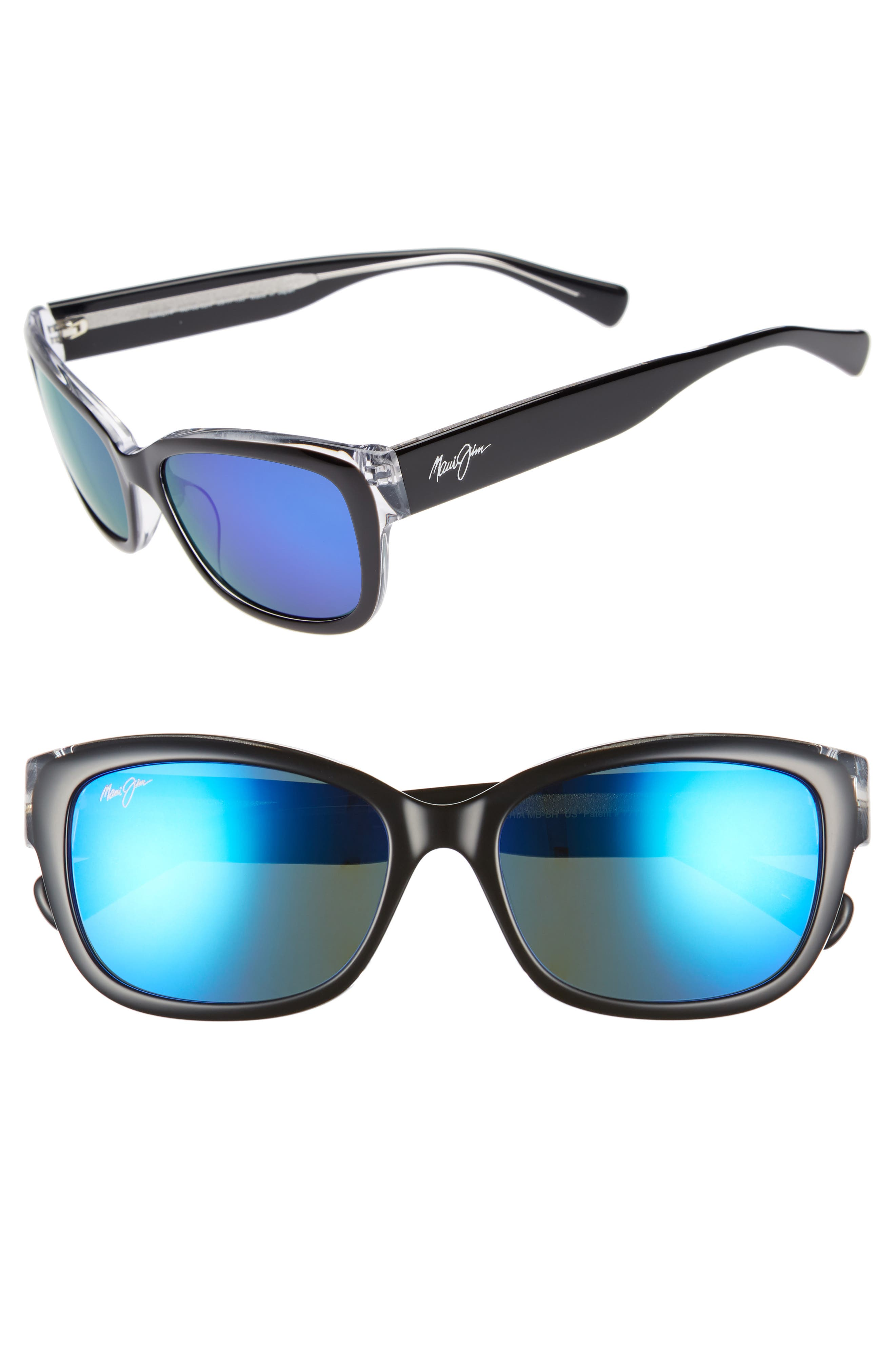 Plumeria 55mm Polarized Cat Eye Sunglasses,                             Main thumbnail 1, color,                             BLACK W CRYSTAL/ BLUE HAWAII