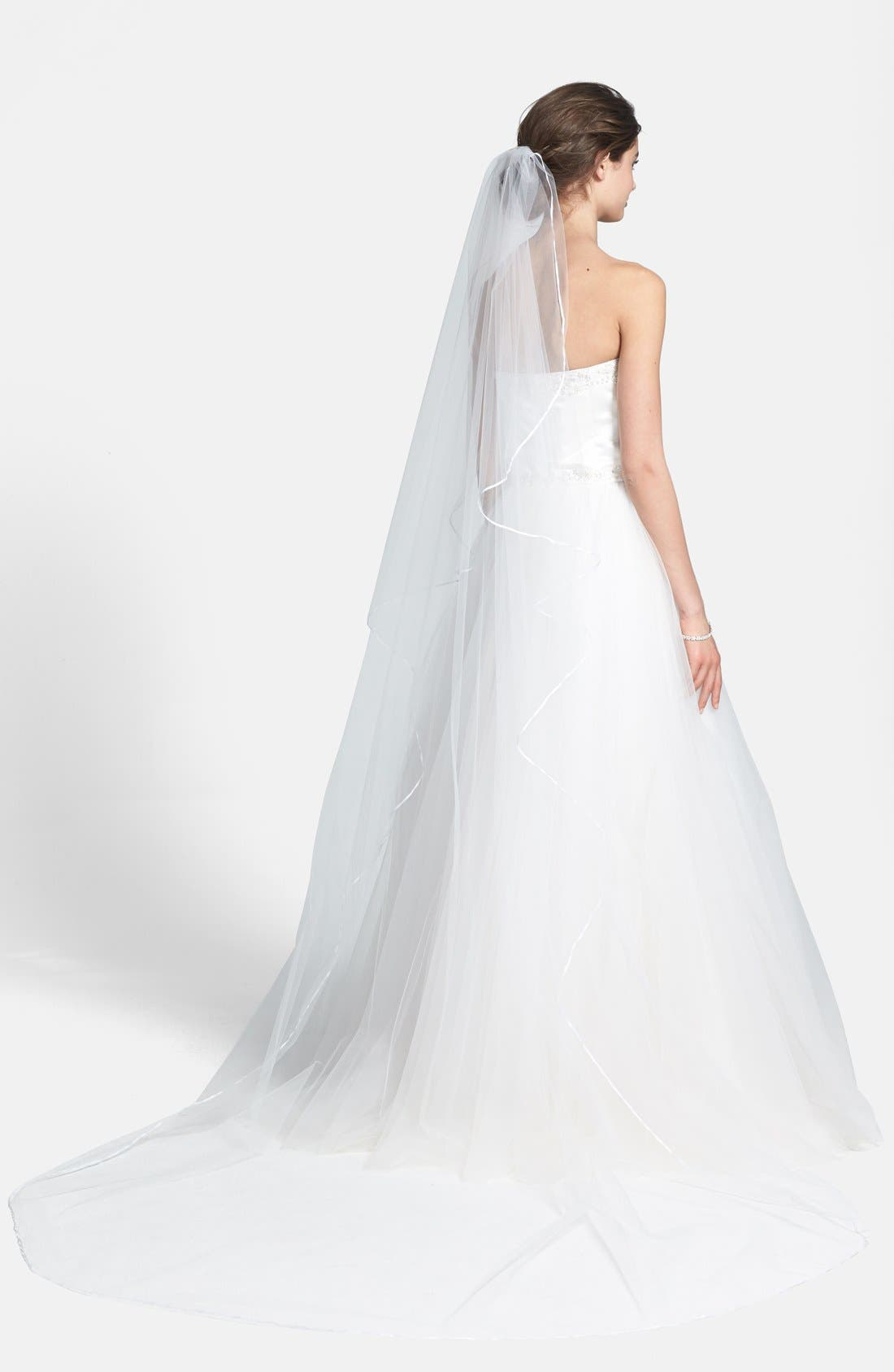 'Mable' Satin Trim Cathedral Veil,                             Alternate thumbnail 3, color,                             WHITE