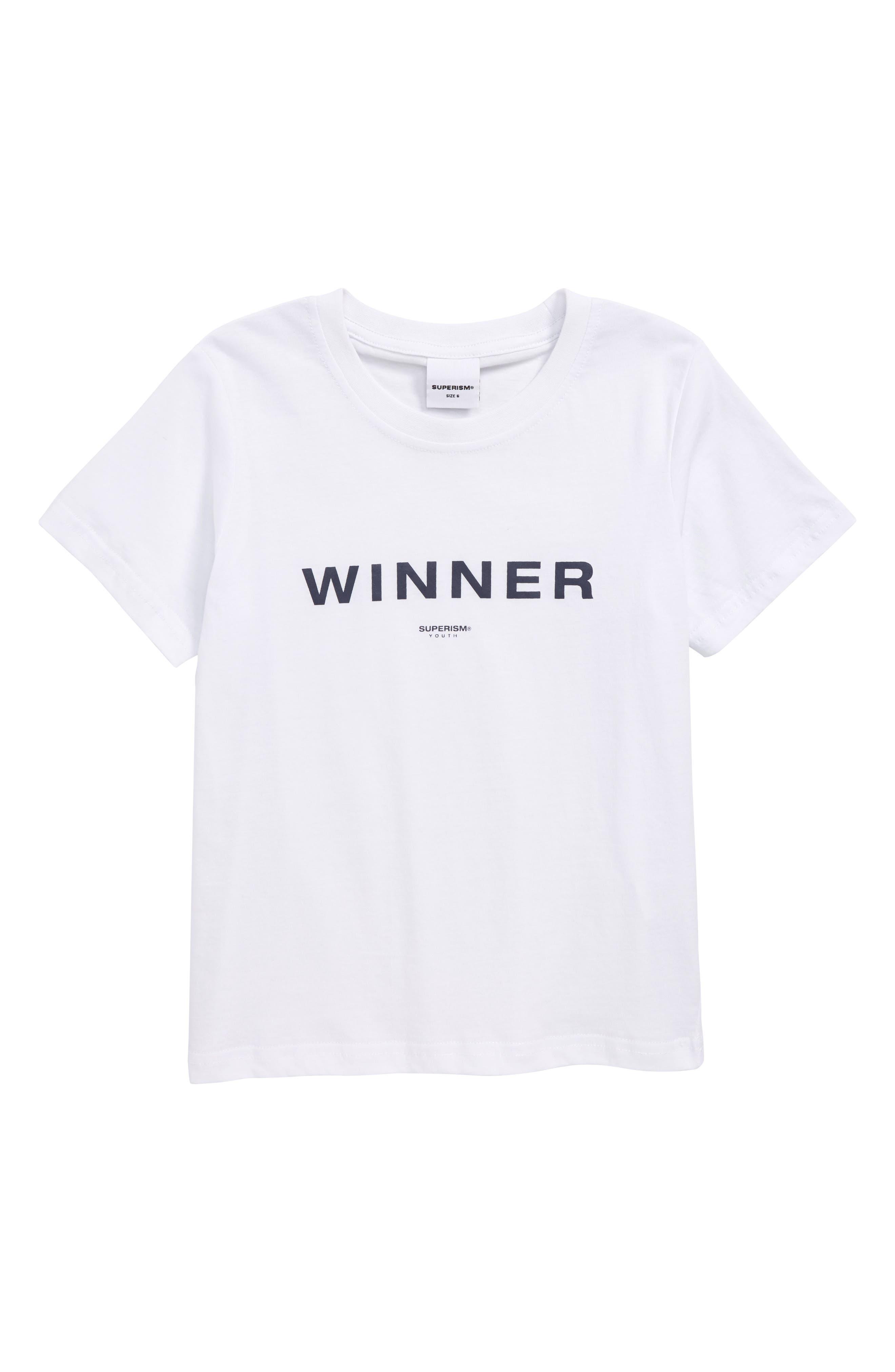 Winner T-Shirt,                             Main thumbnail 1, color,                             WHITE