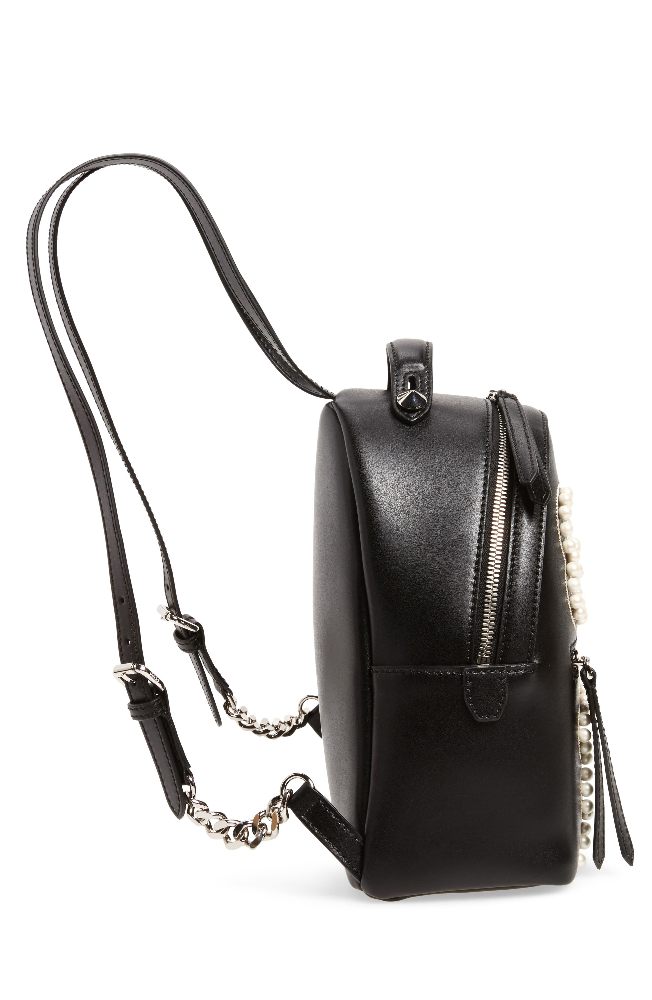 Mini Imitation Pearl Bow Leather Backpack,                             Alternate thumbnail 5, color,                             004