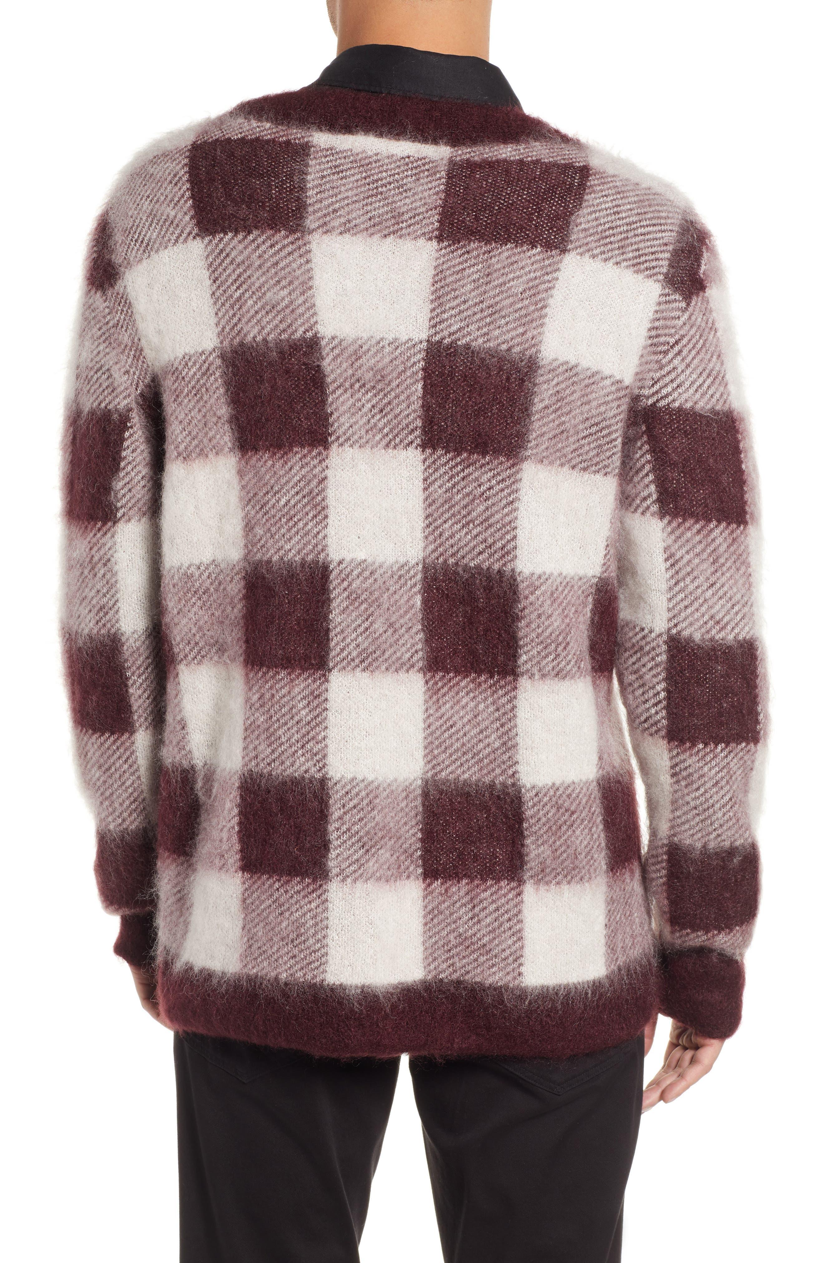 Low Mohair Blend V-Neck Sweater,                             Alternate thumbnail 2, color,                             PLUM CHECK