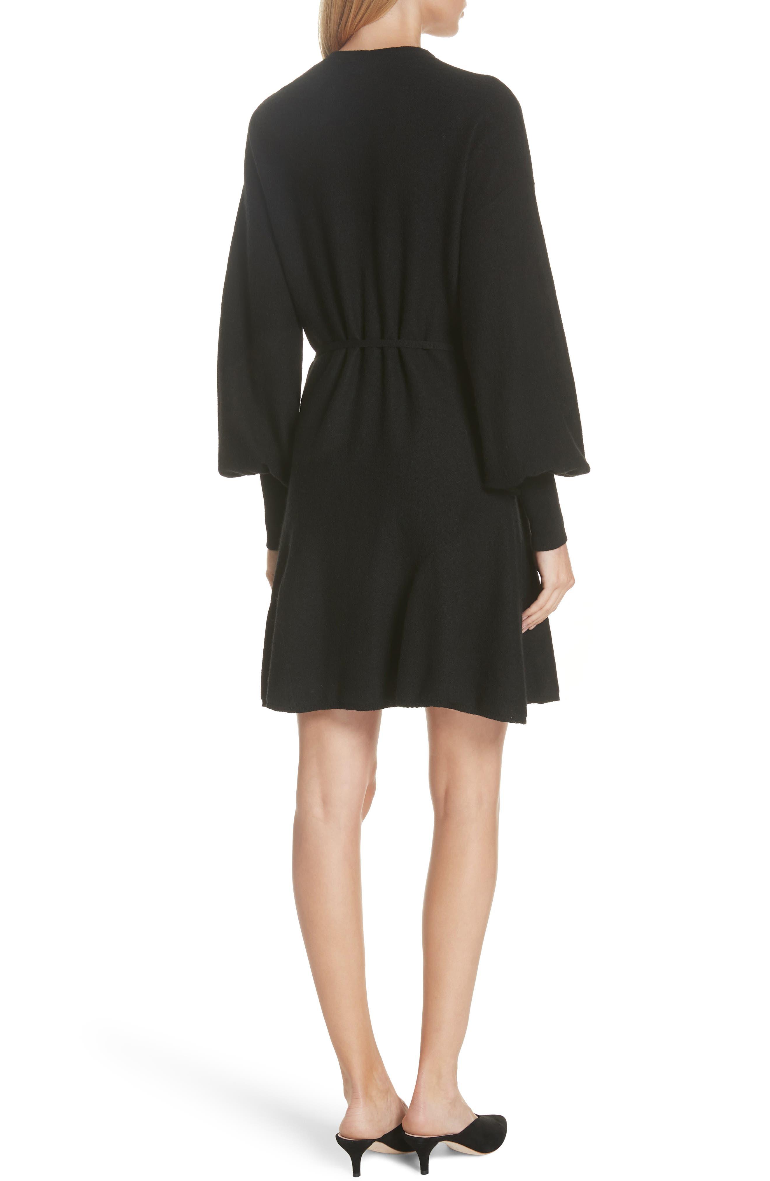 Sevilla Wool Felt Dress,                             Alternate thumbnail 2, color,                             BLACK