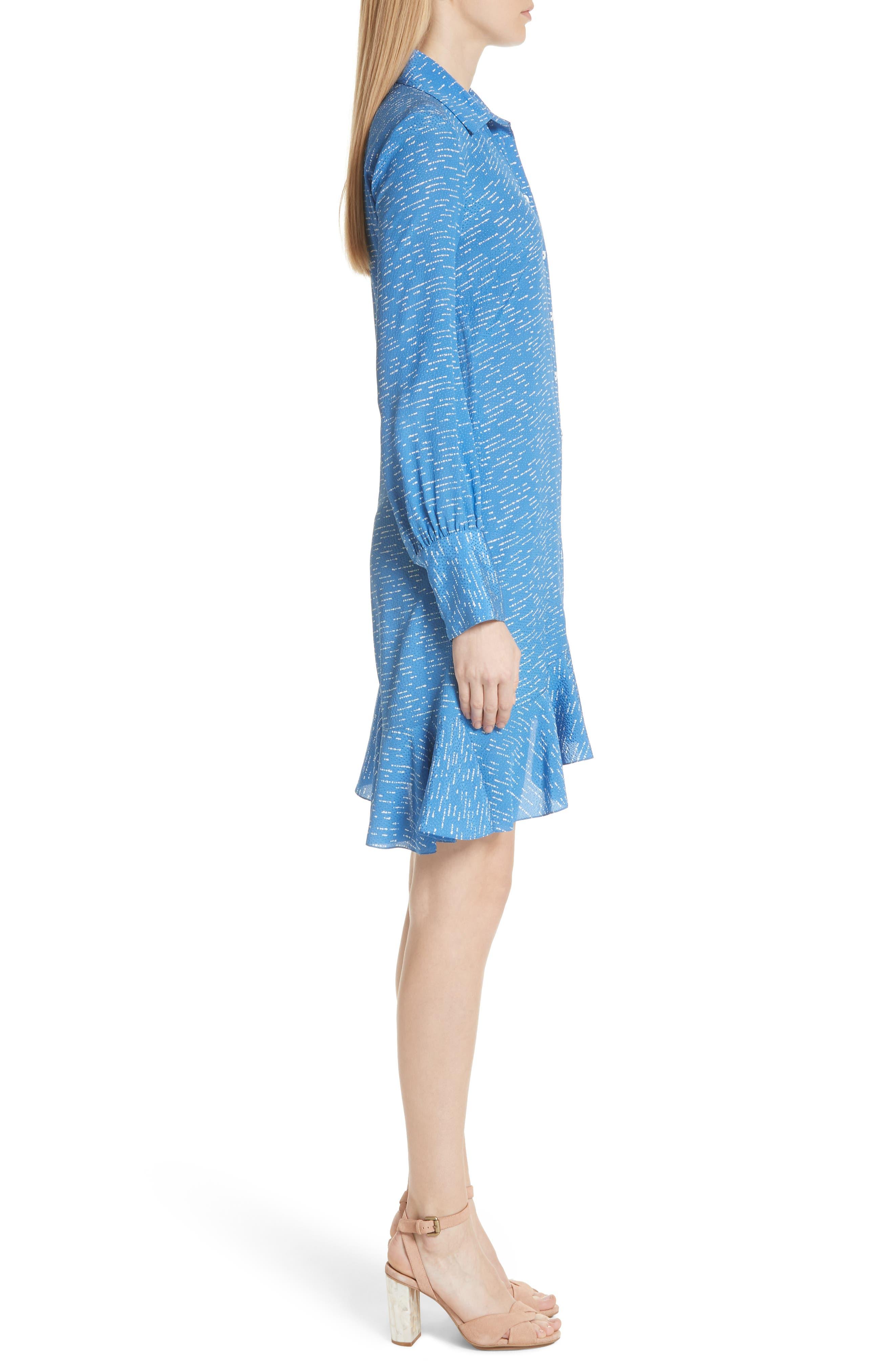 Silk Shirtdress with Asymmetric Hem,                             Alternate thumbnail 3, color,                             BALTIC