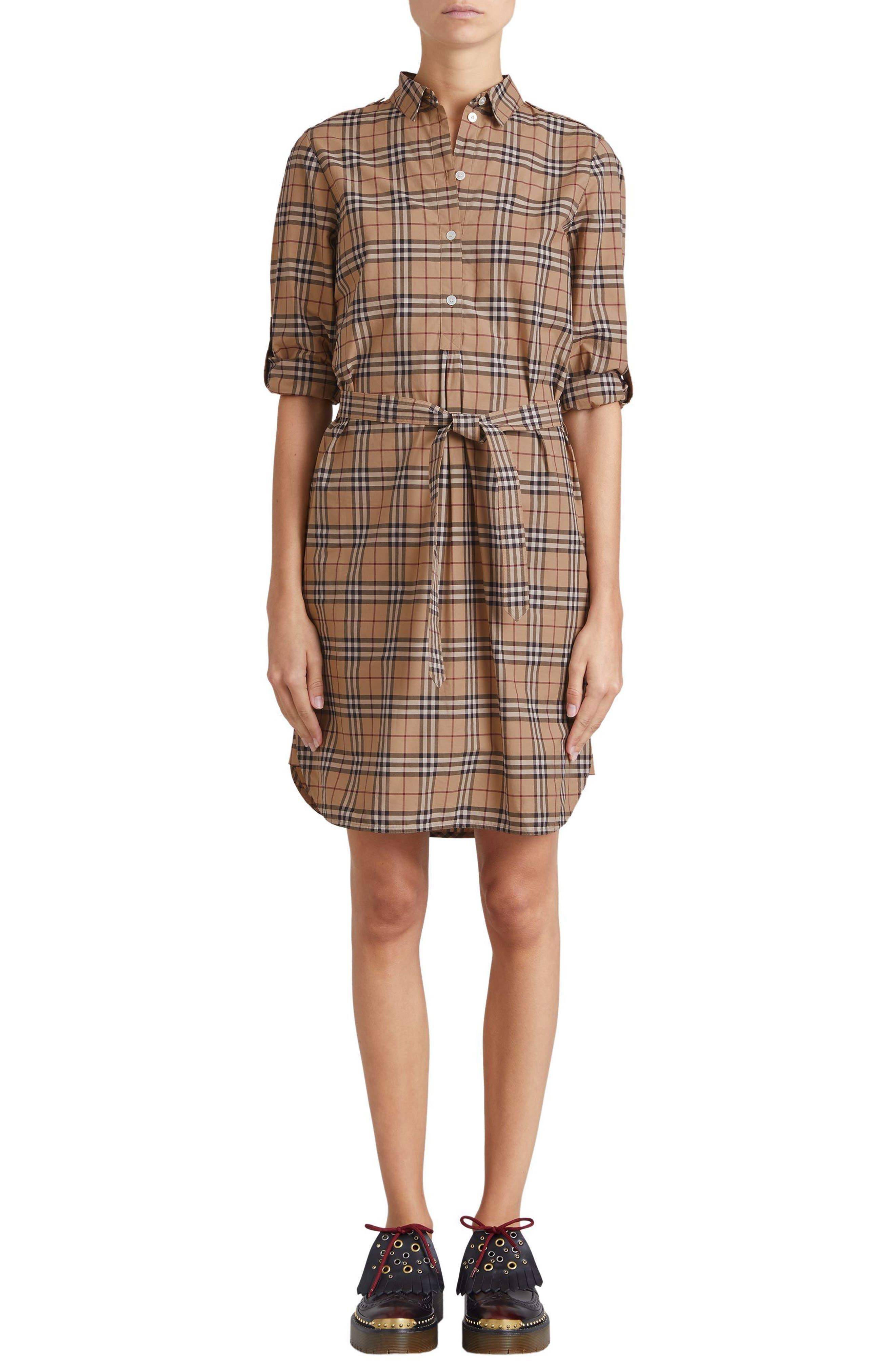 Kelsy Cotton Check Shirtdress,                         Main,                         color, CAMEL