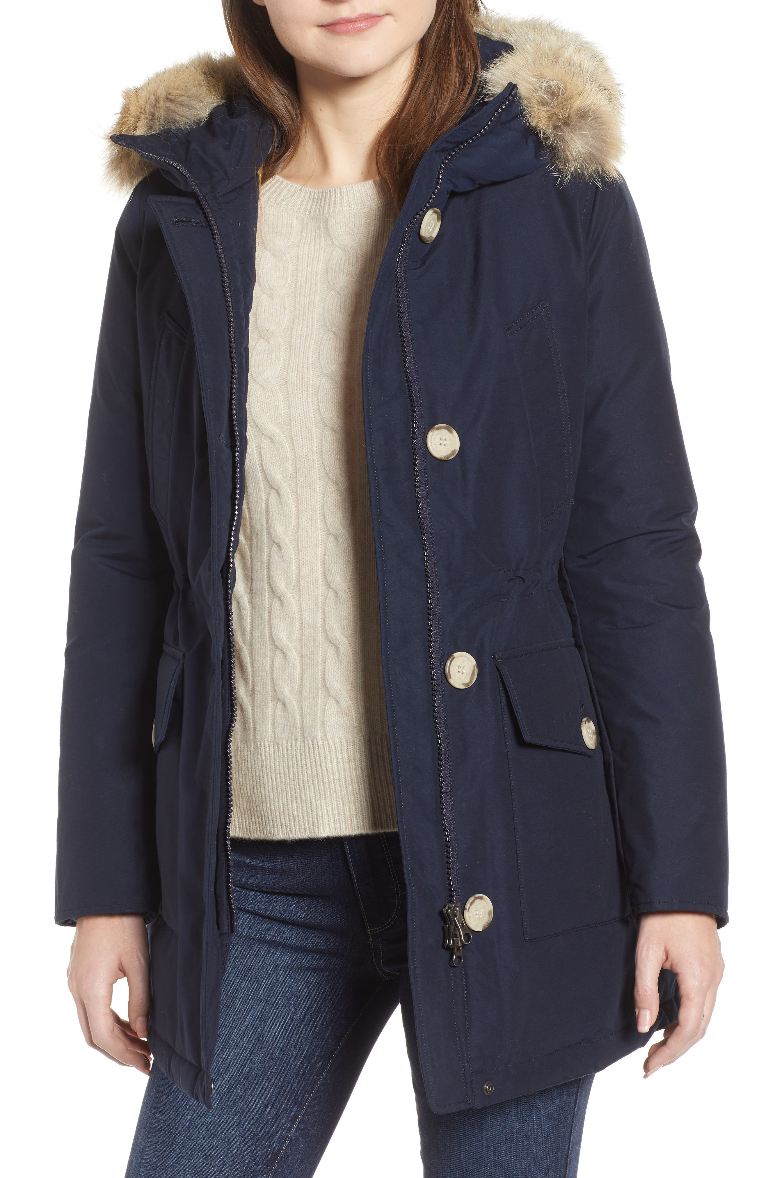 WOOLRICH 'Arctic' Water Resistant 550-Fill Power Down Parka with Genuine Coyote Fur Trim, Main, color, 400
