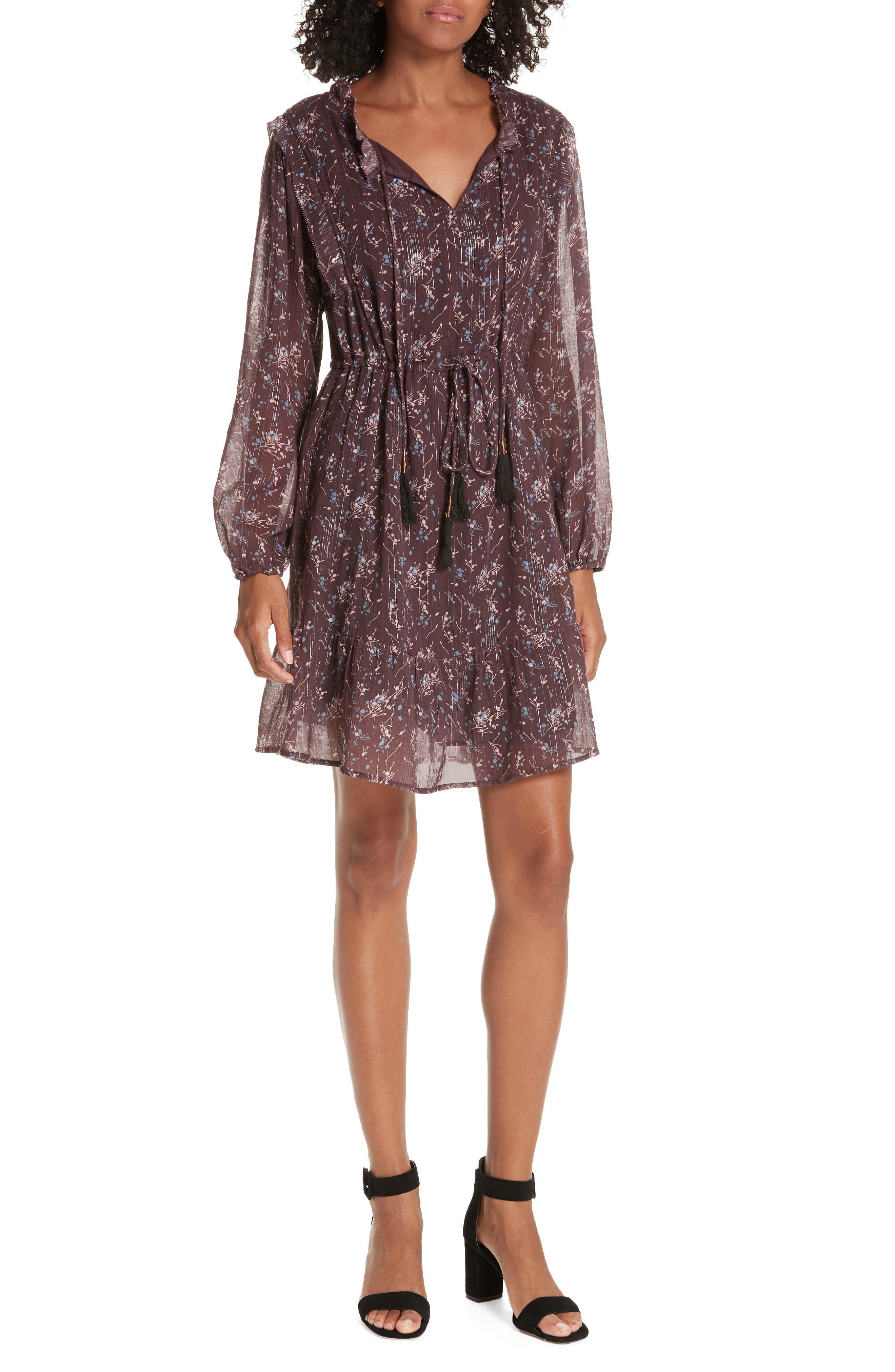 Ruffled Drawstring Waist Dress,                             Main thumbnail 1, color,                             BROWN PLUM BLOSSOM
