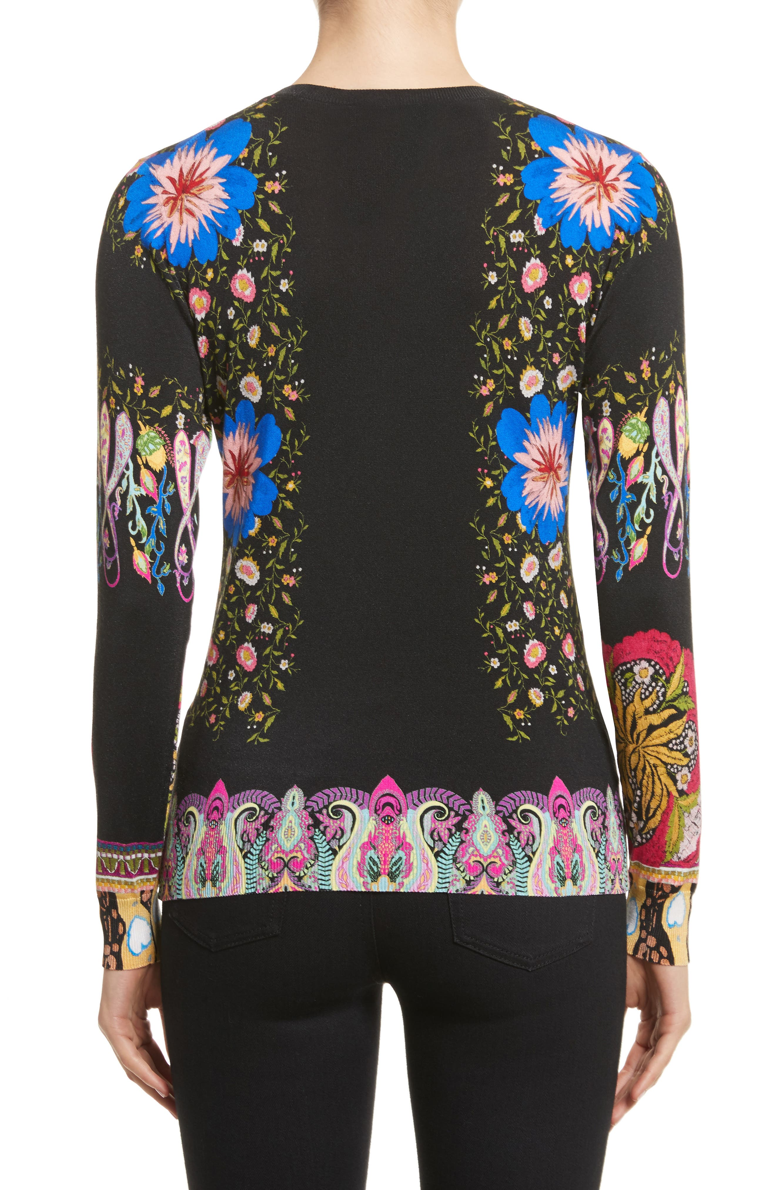 Floral Paisley Stretch Silk Sweater,                             Alternate thumbnail 2, color,