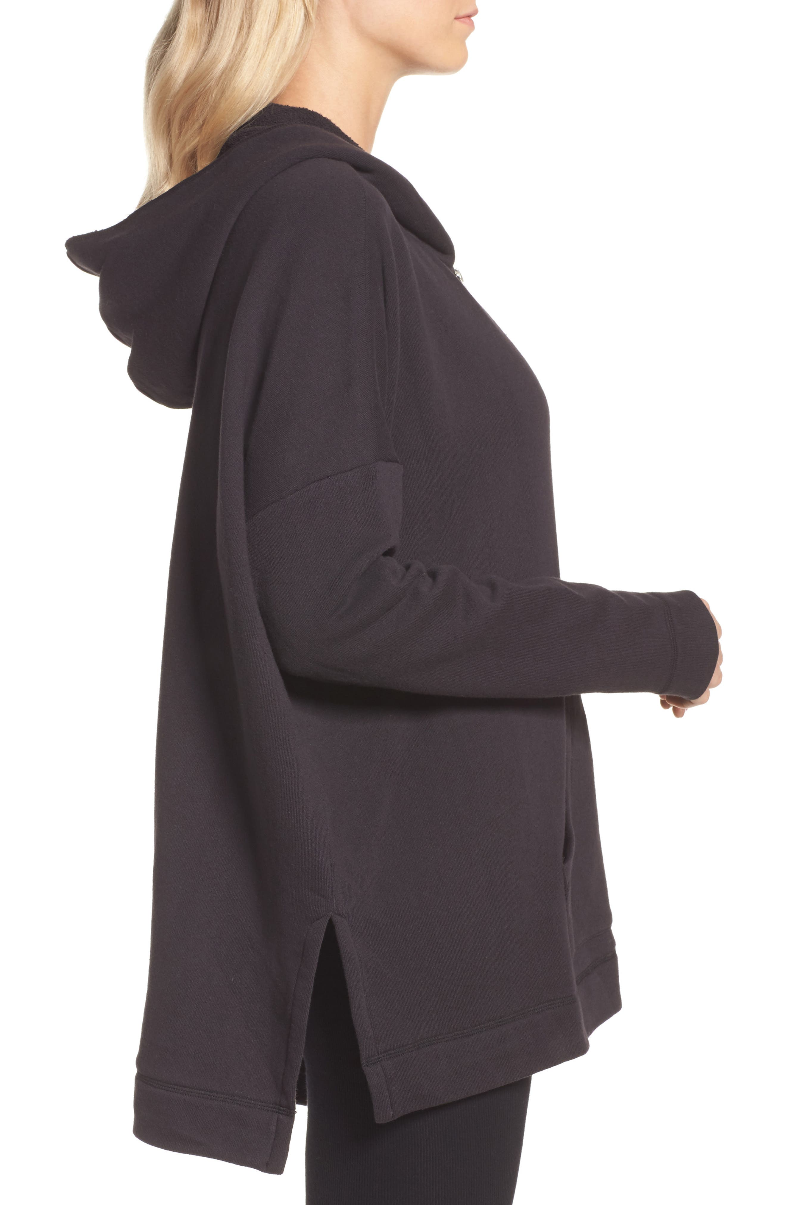 Pearl Oversize Hoodie,                             Alternate thumbnail 3, color,                             BLACK