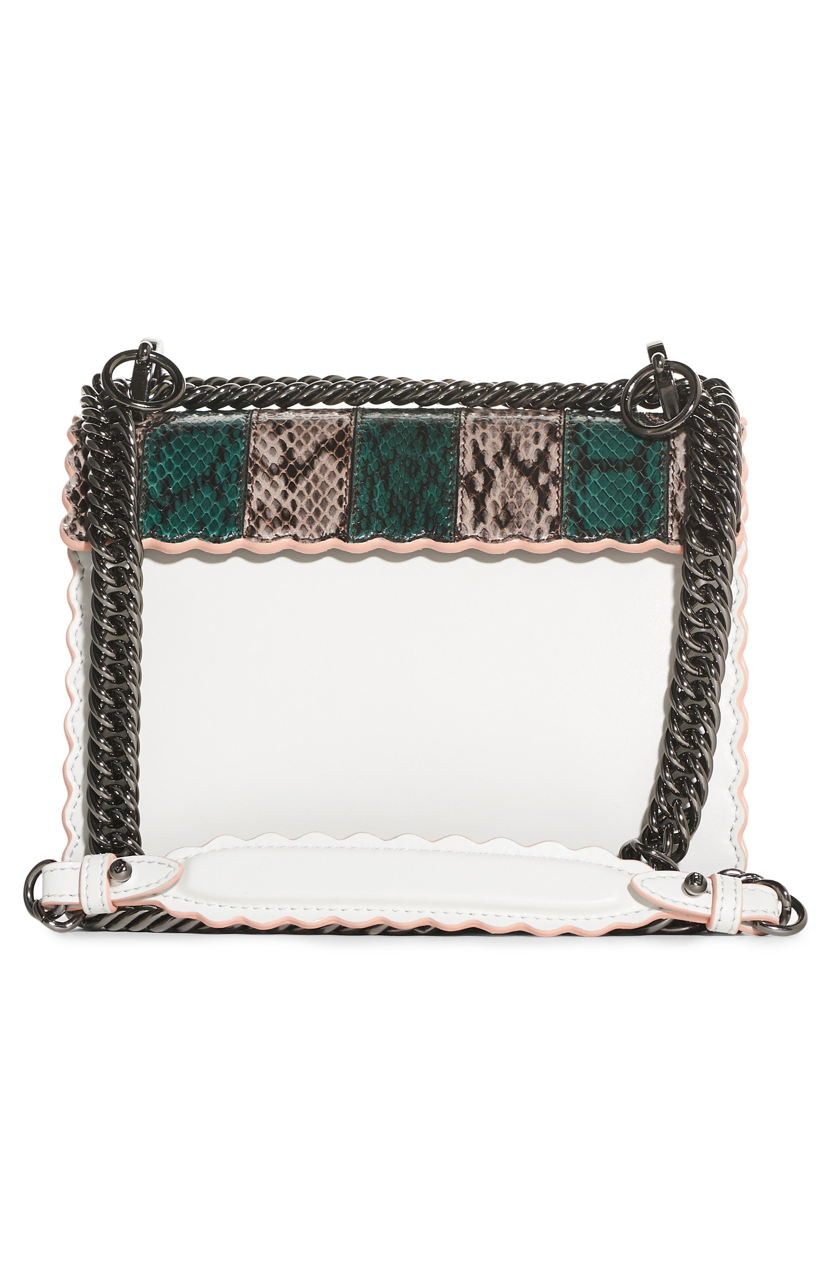 Mini Kan Scallop Genuine Snakeskin & Leather Shoulder Bag,                             Alternate thumbnail 2, color,                             TAUPE/ROMARO/WHITE