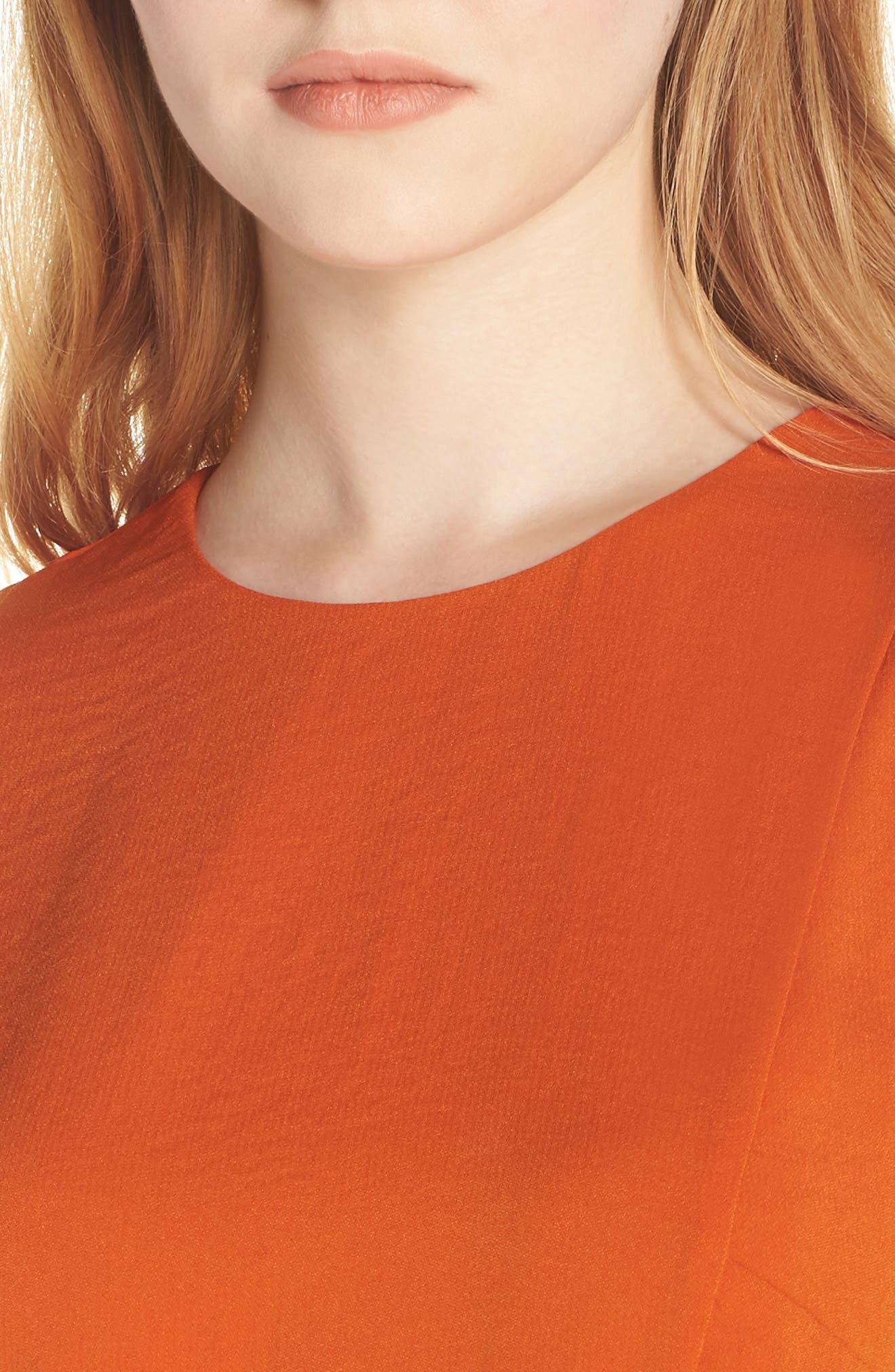Sofia Short Sleeve Sheath Dress,                             Alternate thumbnail 4, color,                             ORANGE