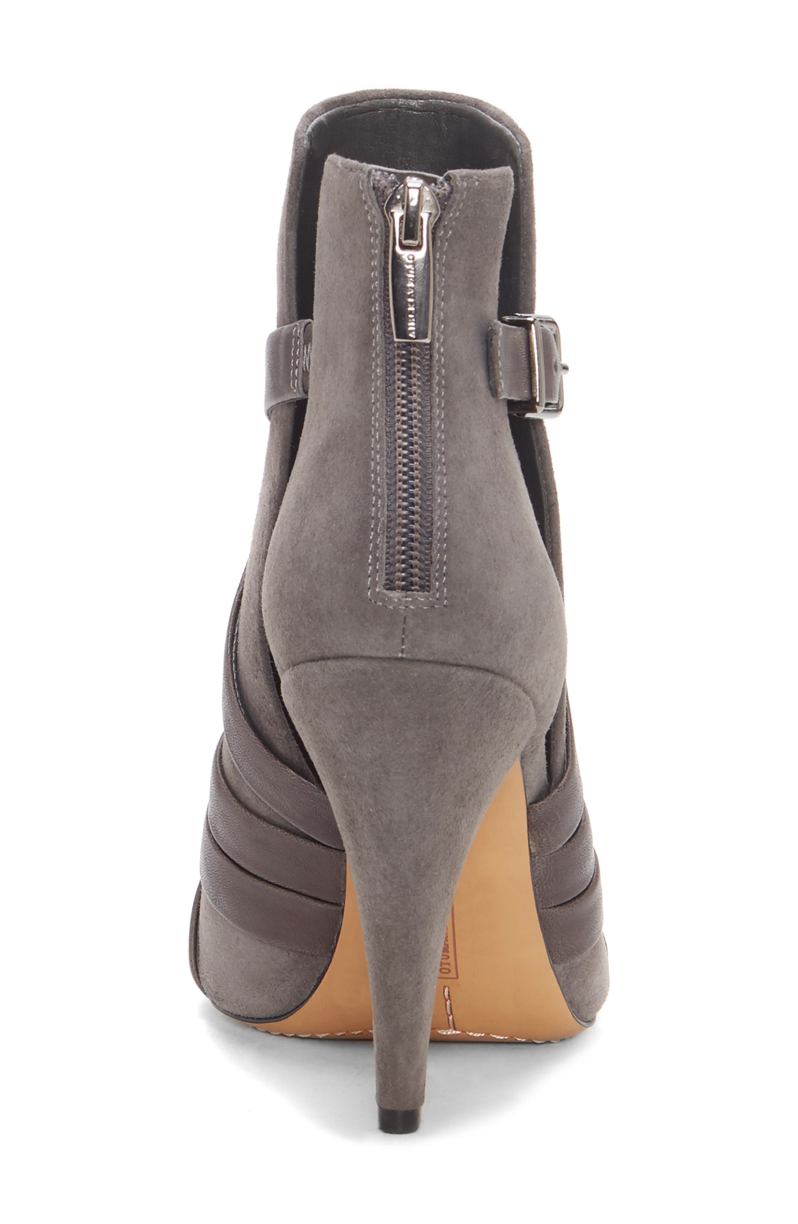 Achika Belted Peep Toe Bootie,                             Alternate thumbnail 7, color,                             POWER GREY LEATHER