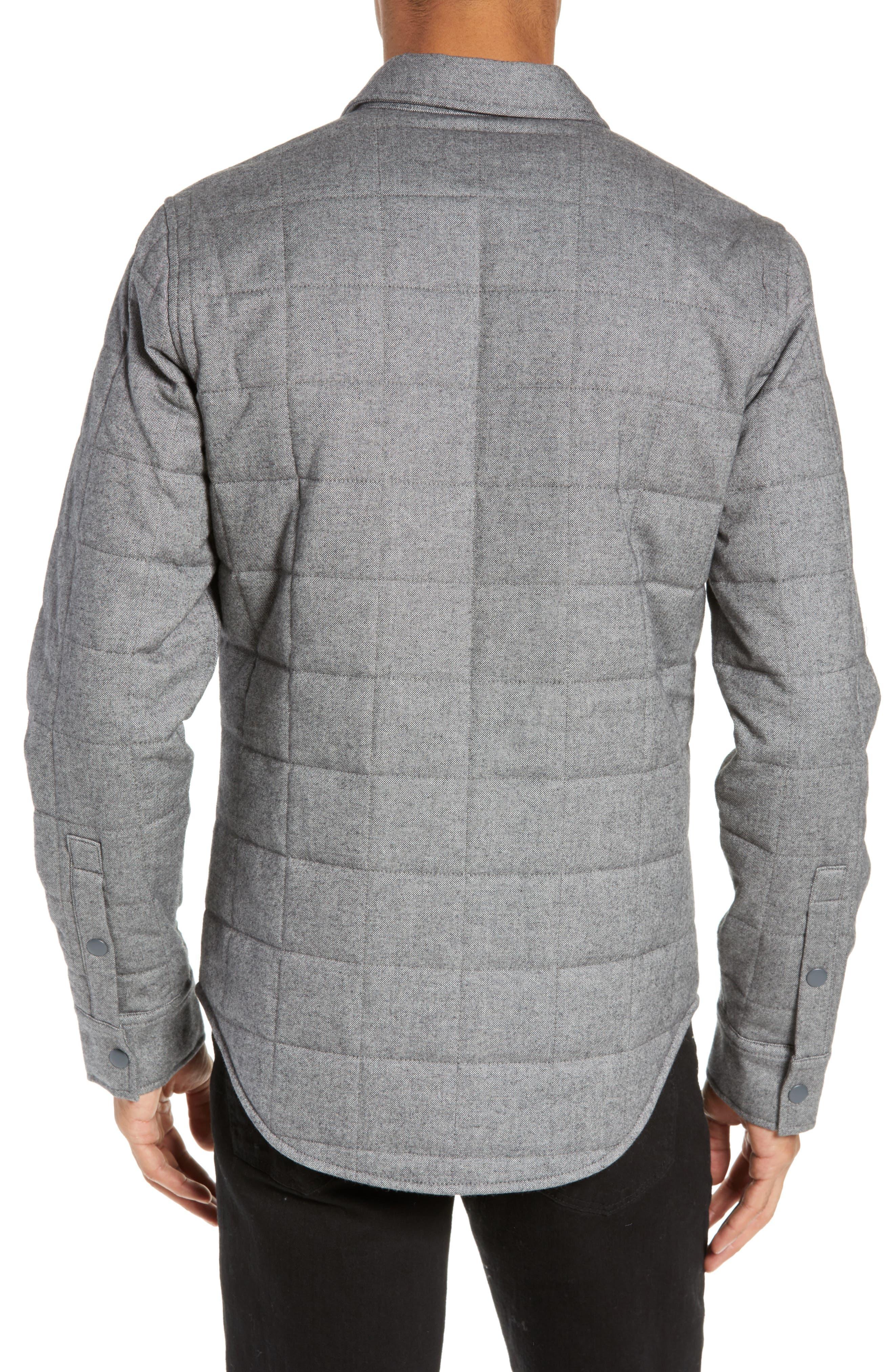 Quilted Herringbone Shirt Jacket,                             Alternate thumbnail 2, color,                             GREY COTTON HERRINGBONE