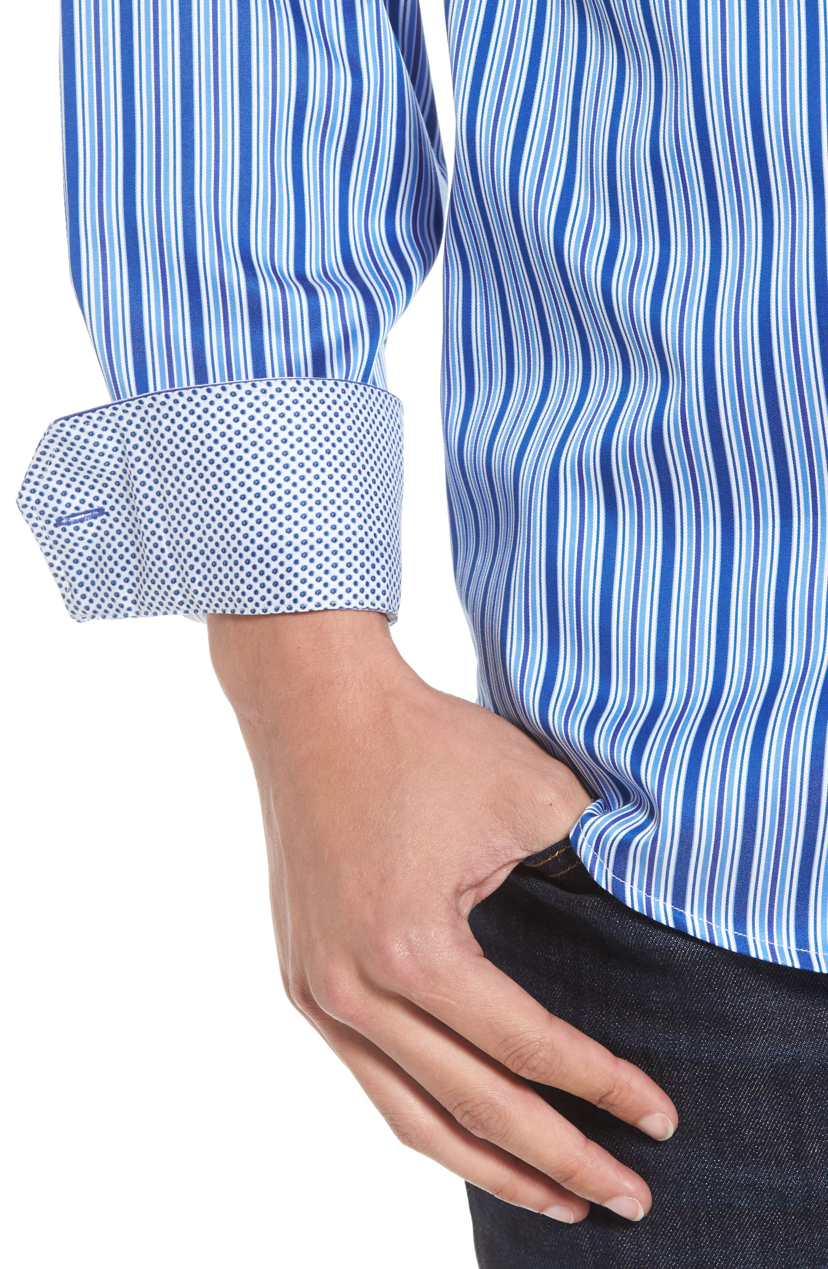 Classic Fit Stripe Sport Shirt,                             Alternate thumbnail 4, color,                             422