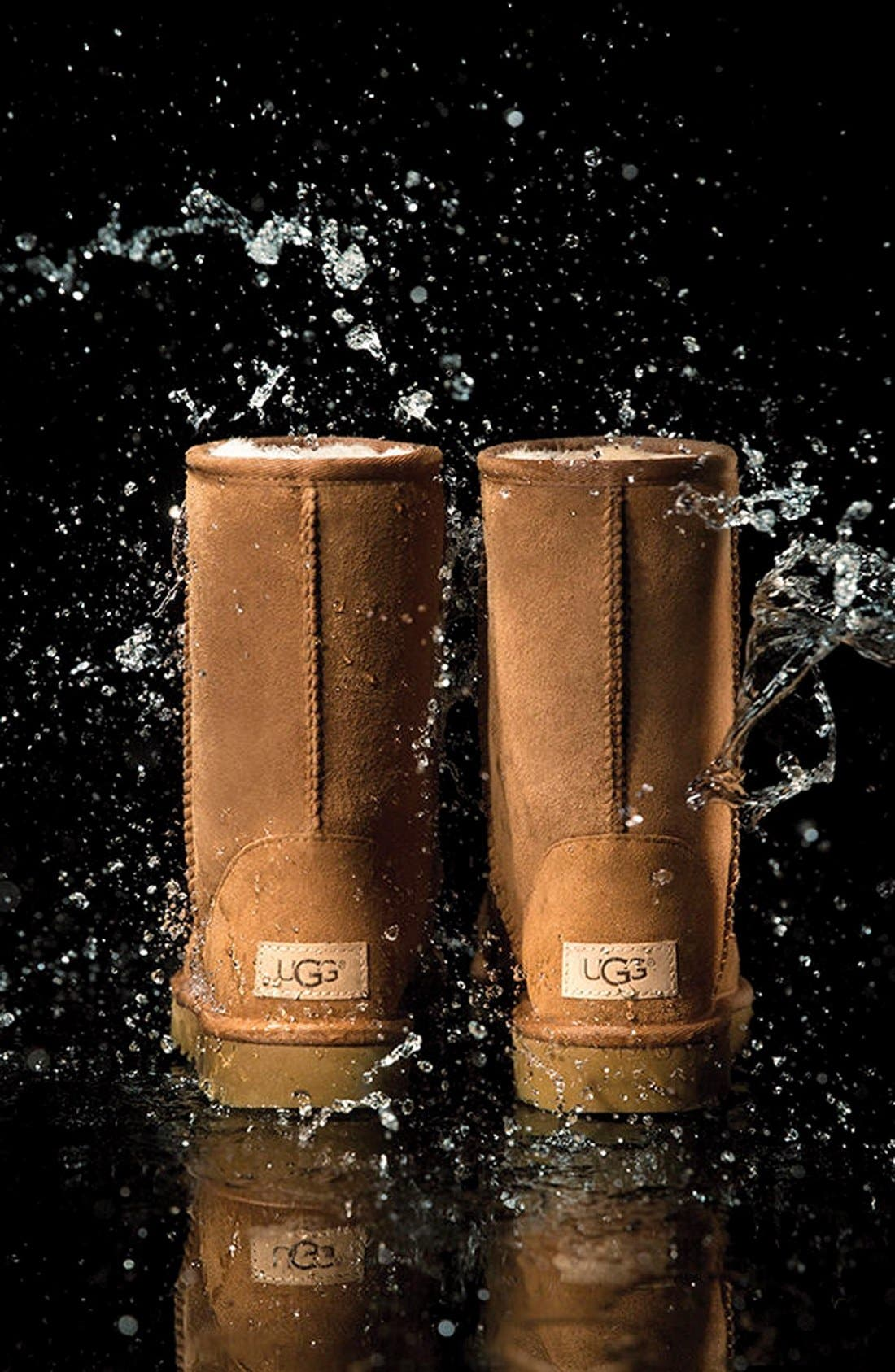 'Classic II' Genuine Shearling Lined Short Boot,                             Alternate thumbnail 8, color,                             CHESTNUT SUEDE