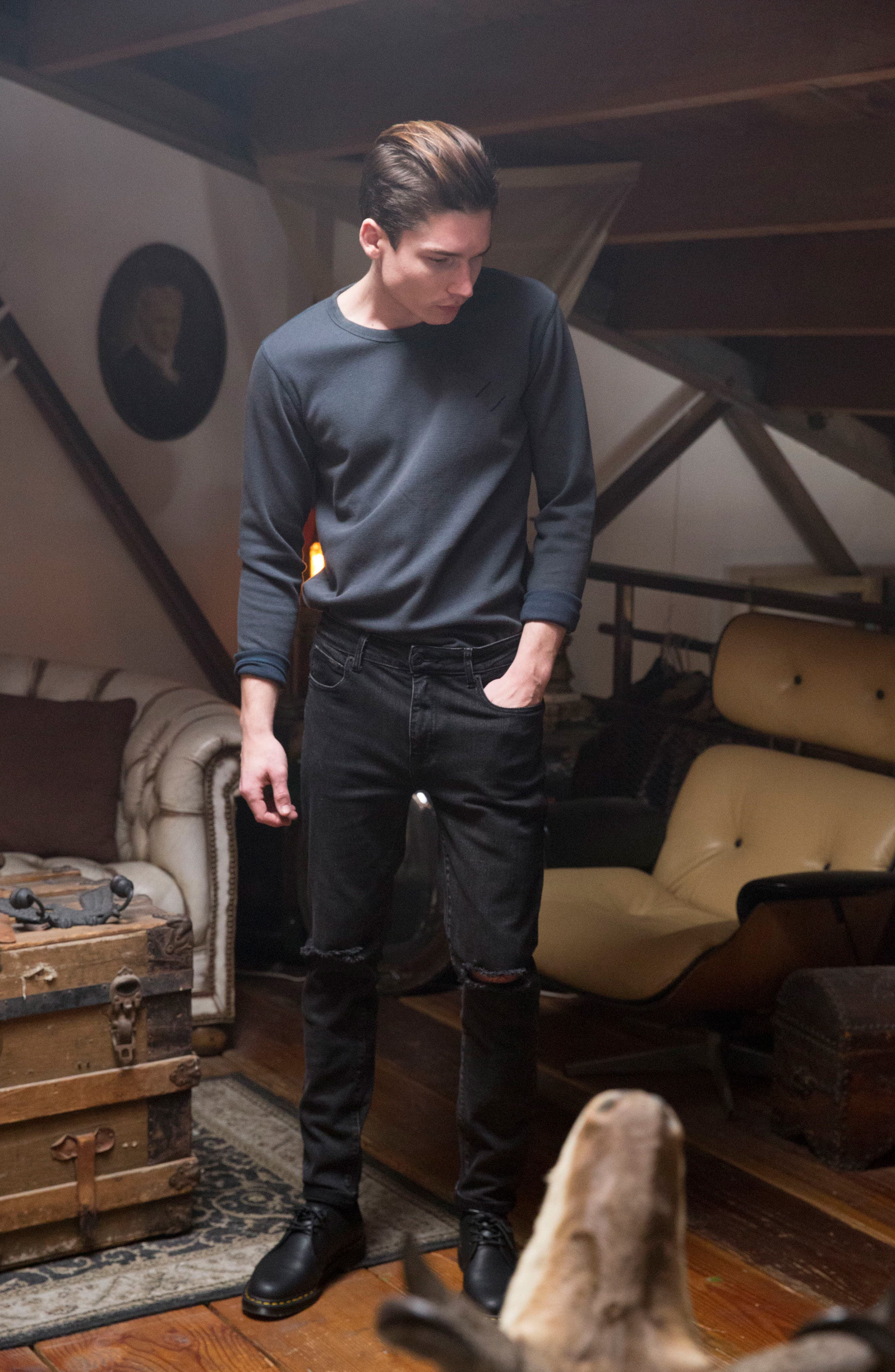 Baxter Ripped Jeans,                             Alternate thumbnail 8, color,                             001