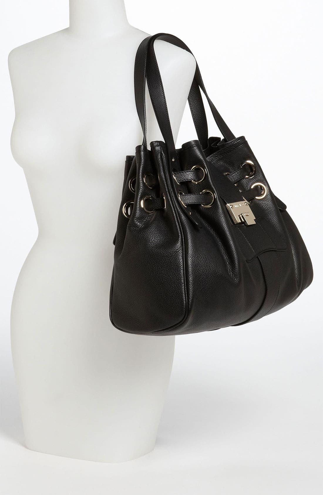 'Ramona' Leather Shopper,                             Alternate thumbnail 4, color,                             001