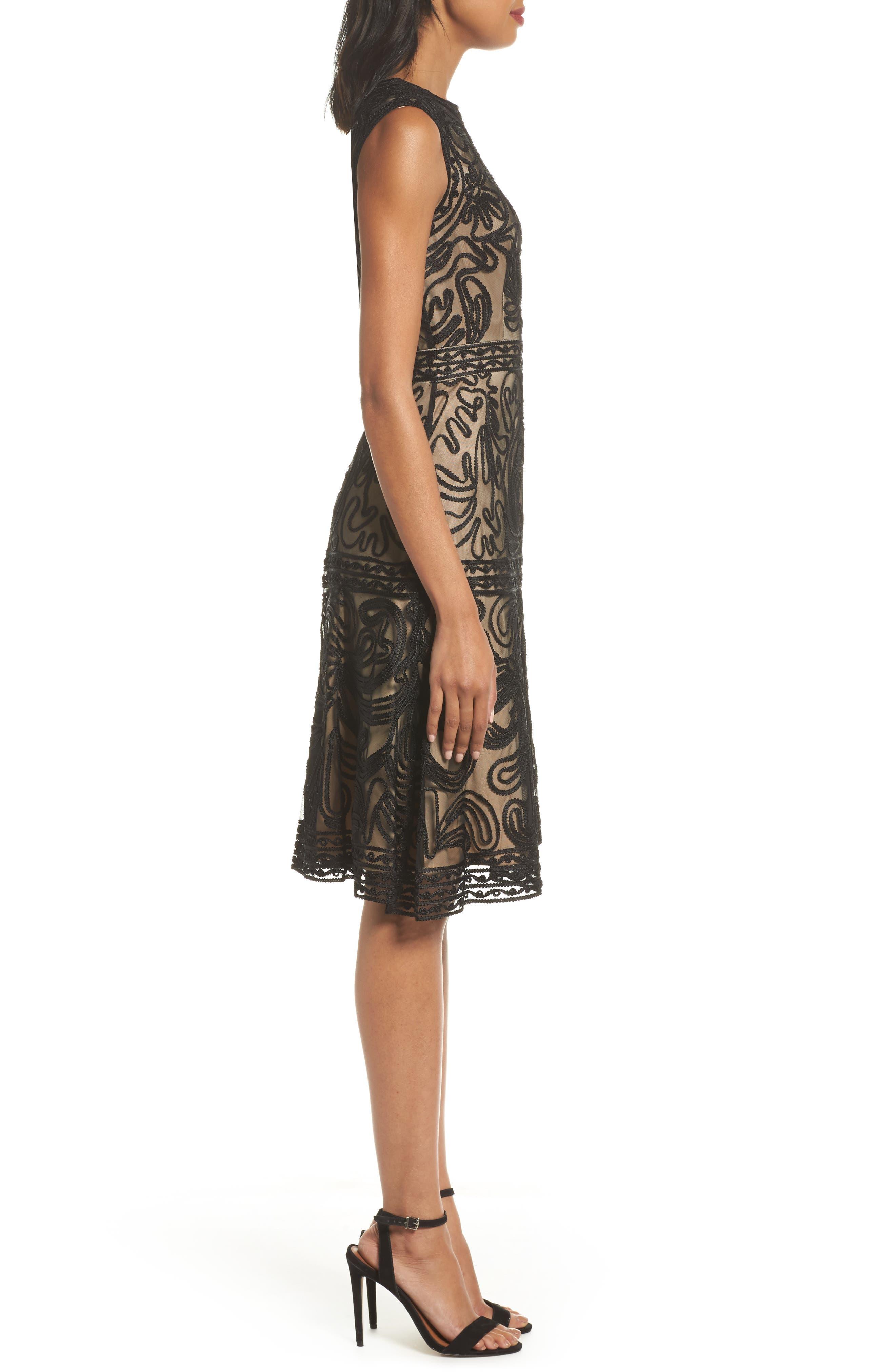Soutache Fit & Flare Dress,                             Alternate thumbnail 3, color,                             001