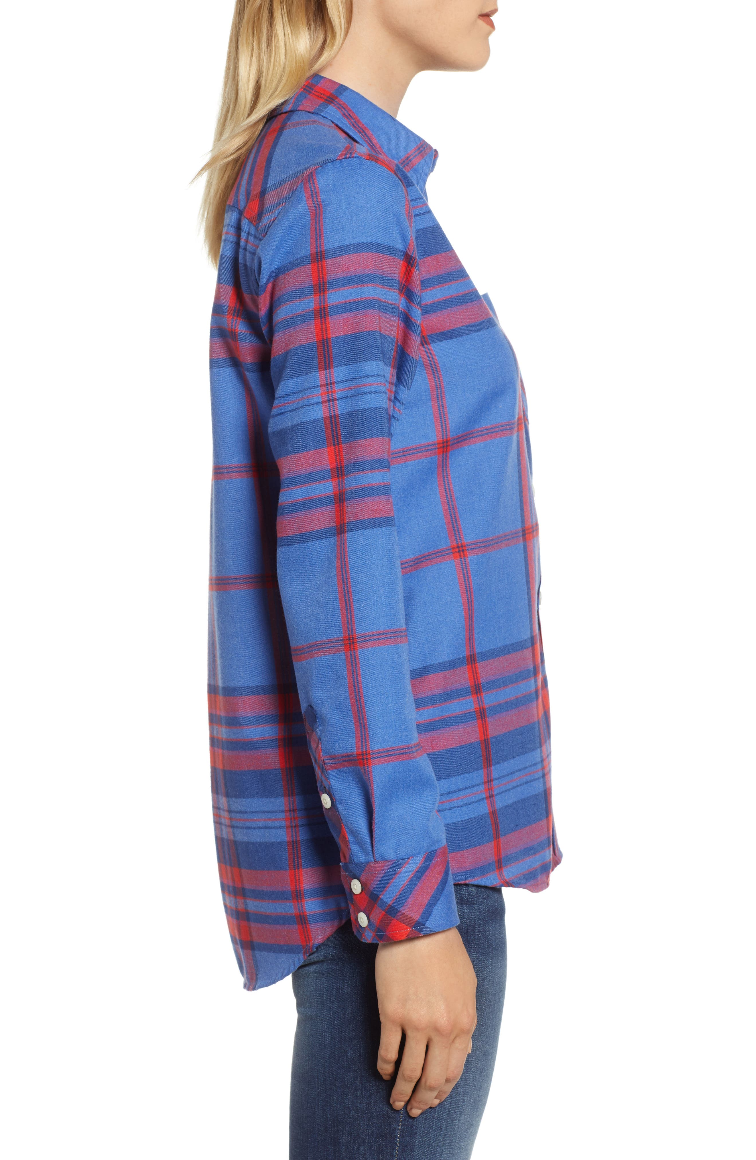 Northern Plaid Performance Flannel Shirt,                             Alternate thumbnail 3, color,                             DAZZLING BLUE