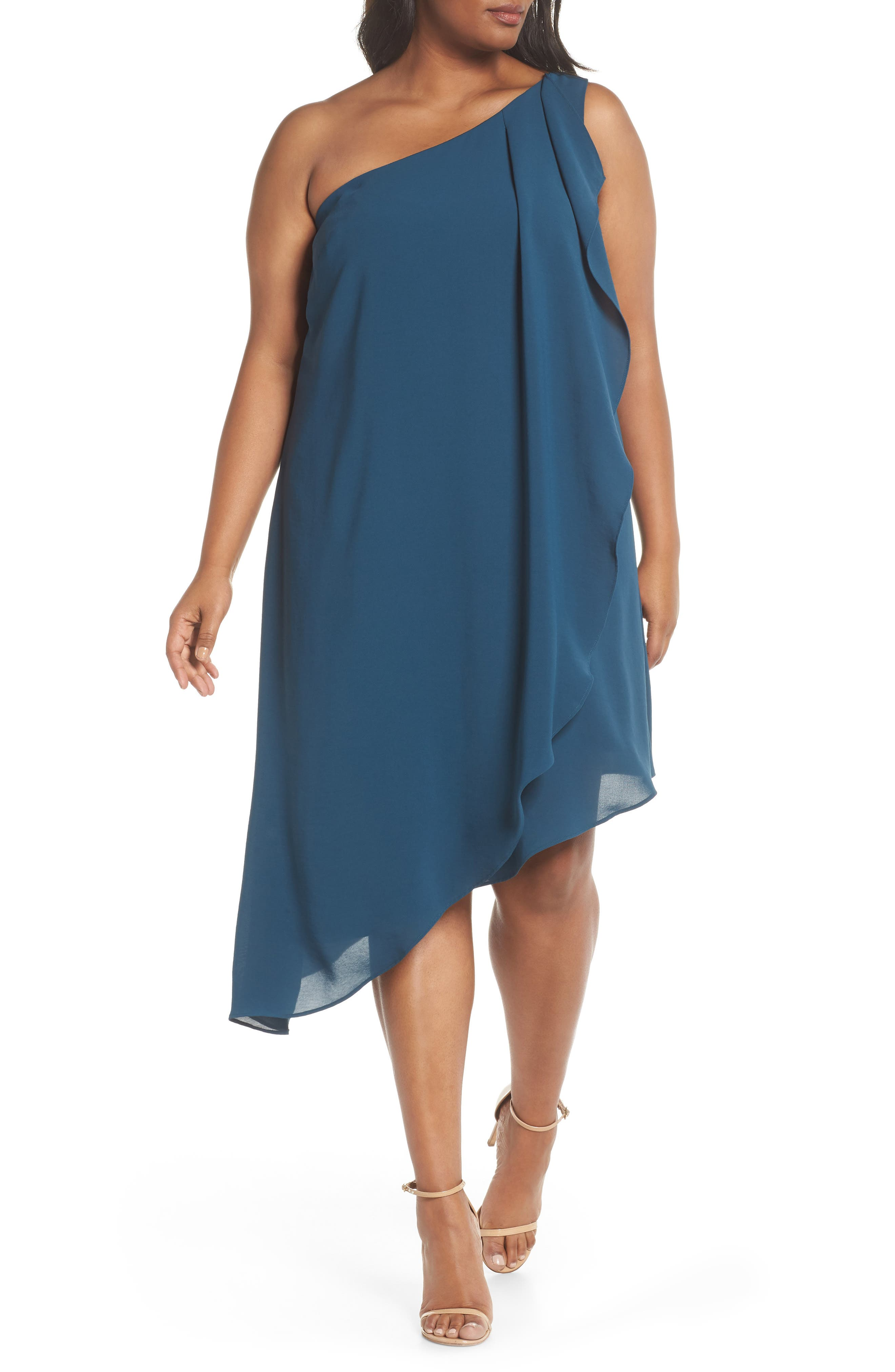 Plus Size Adrianna Papell Gauzy One-Shoulder Crepe Dress, Blue