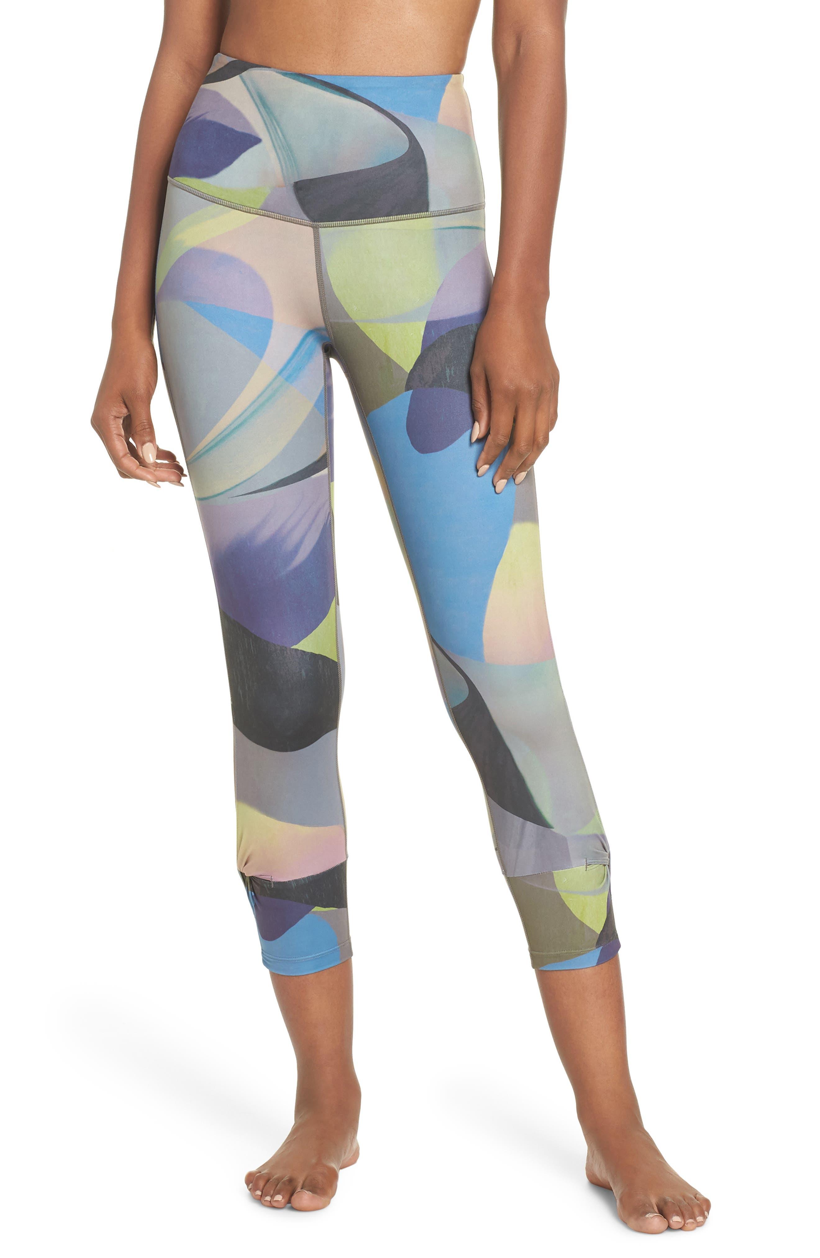 Katya High Waist Abstract Print Recycled Crop Leggings,                         Main,                         color, GREY URBAN ABSTRACT BOTANICAL