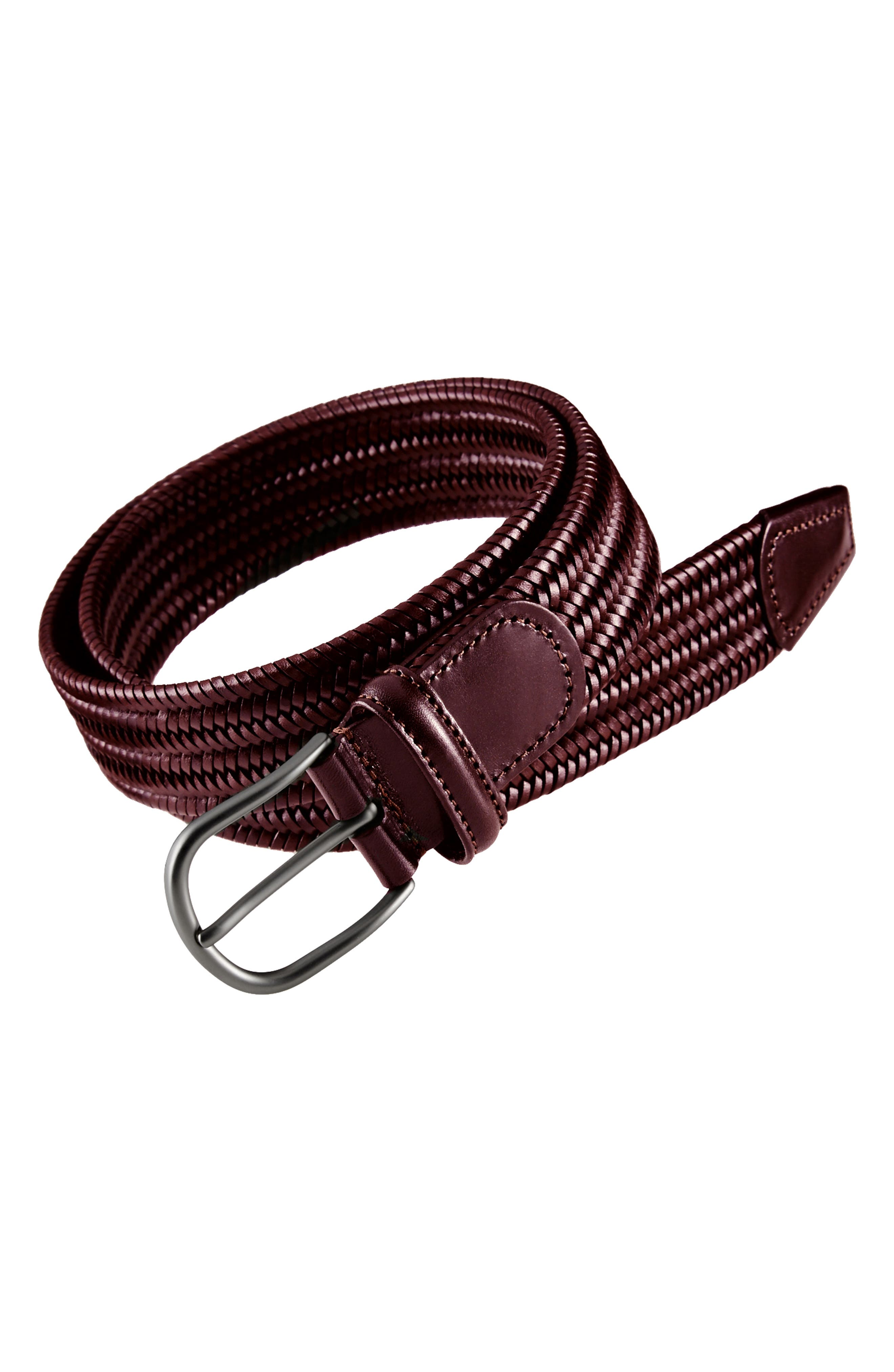 ANDERSONS Stretch Leather Belt in Oxblood