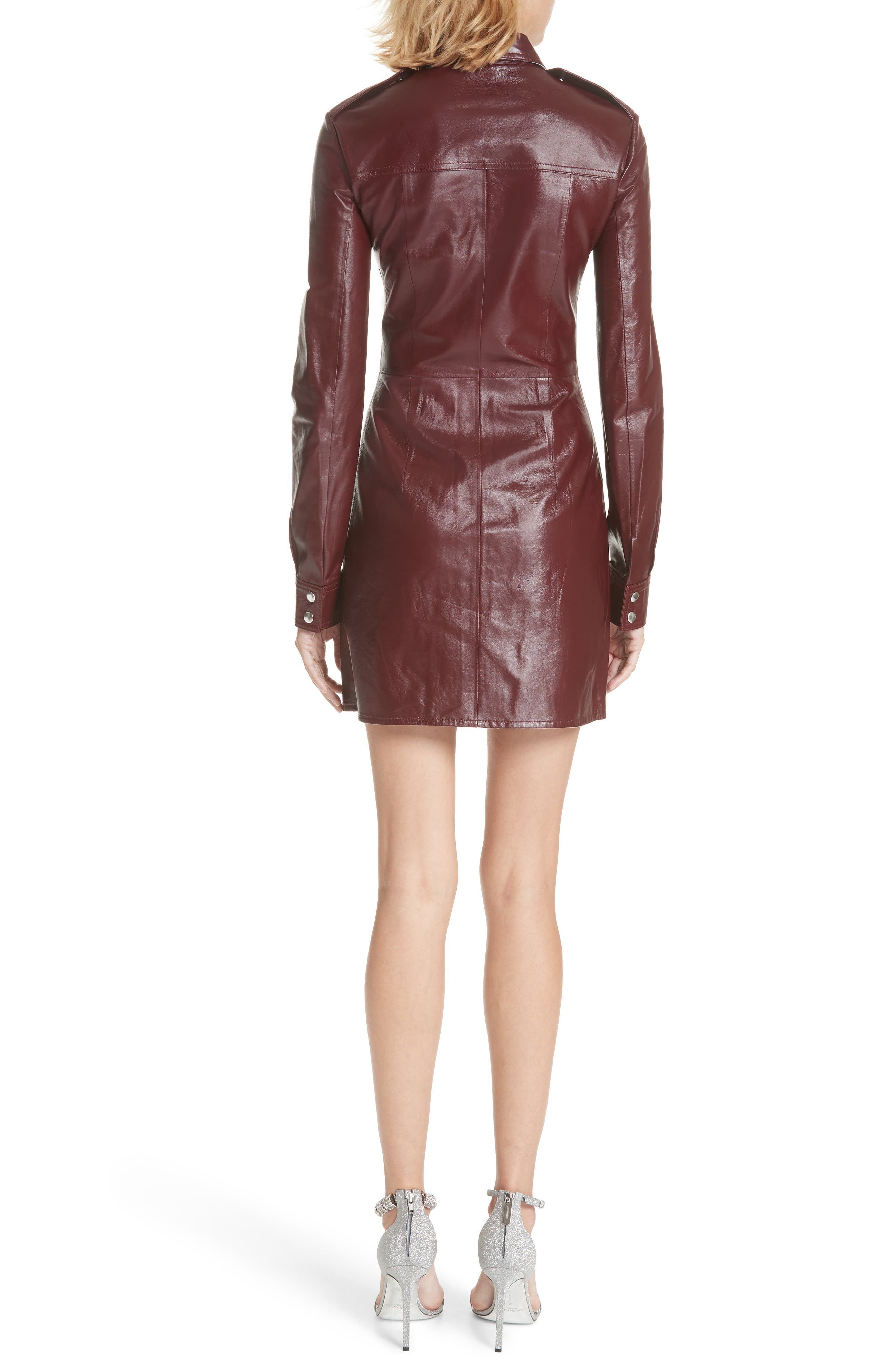 Leather Western Shirtdress,                             Alternate thumbnail 2, color,                             MULBERRY