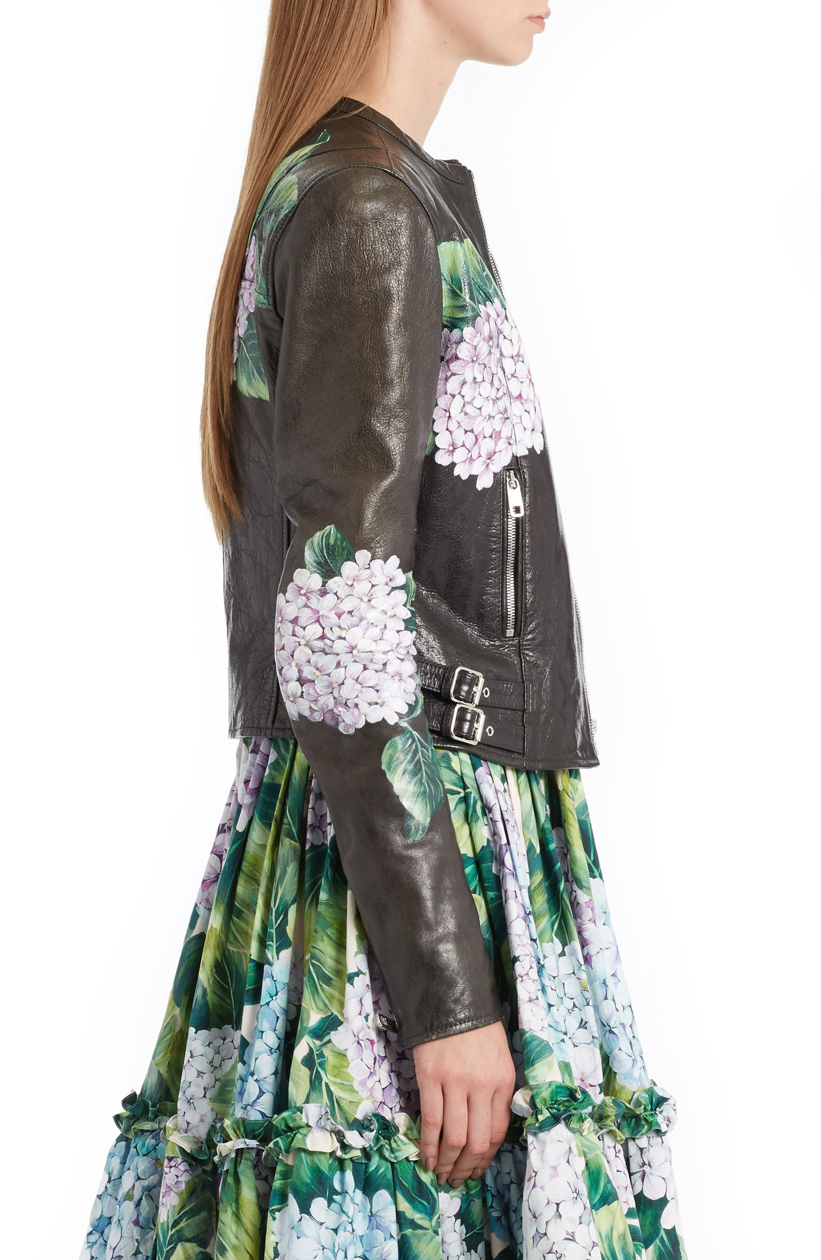 Hydrangea Painted Leather Jacket,                             Alternate thumbnail 3, color,