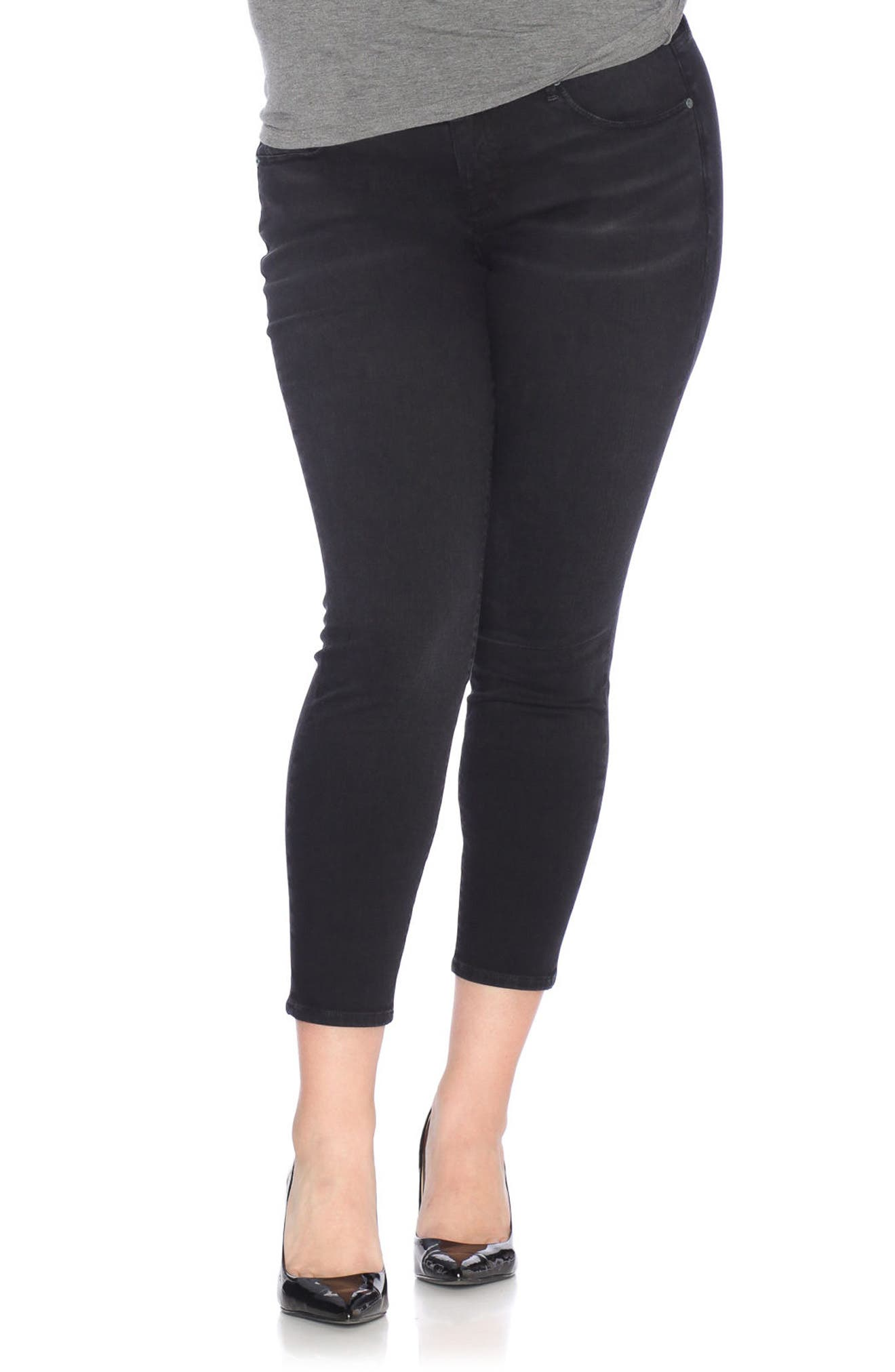 Stretch Ankle Skinny Jeans,                             Main thumbnail 1, color,                             001