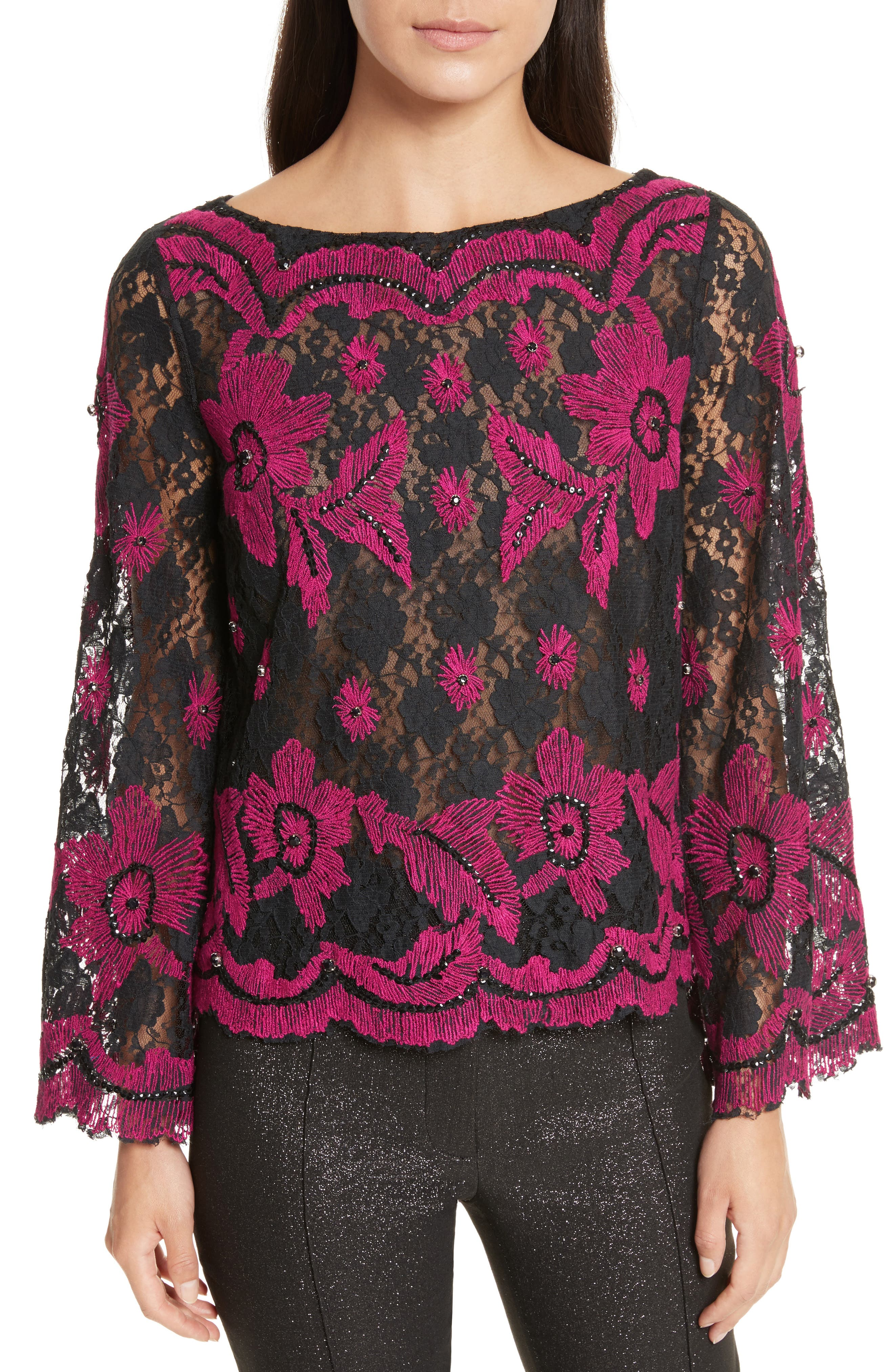TRACY REESE,                             Embroidered Crop Tee,                             Main thumbnail 1, color,                             006