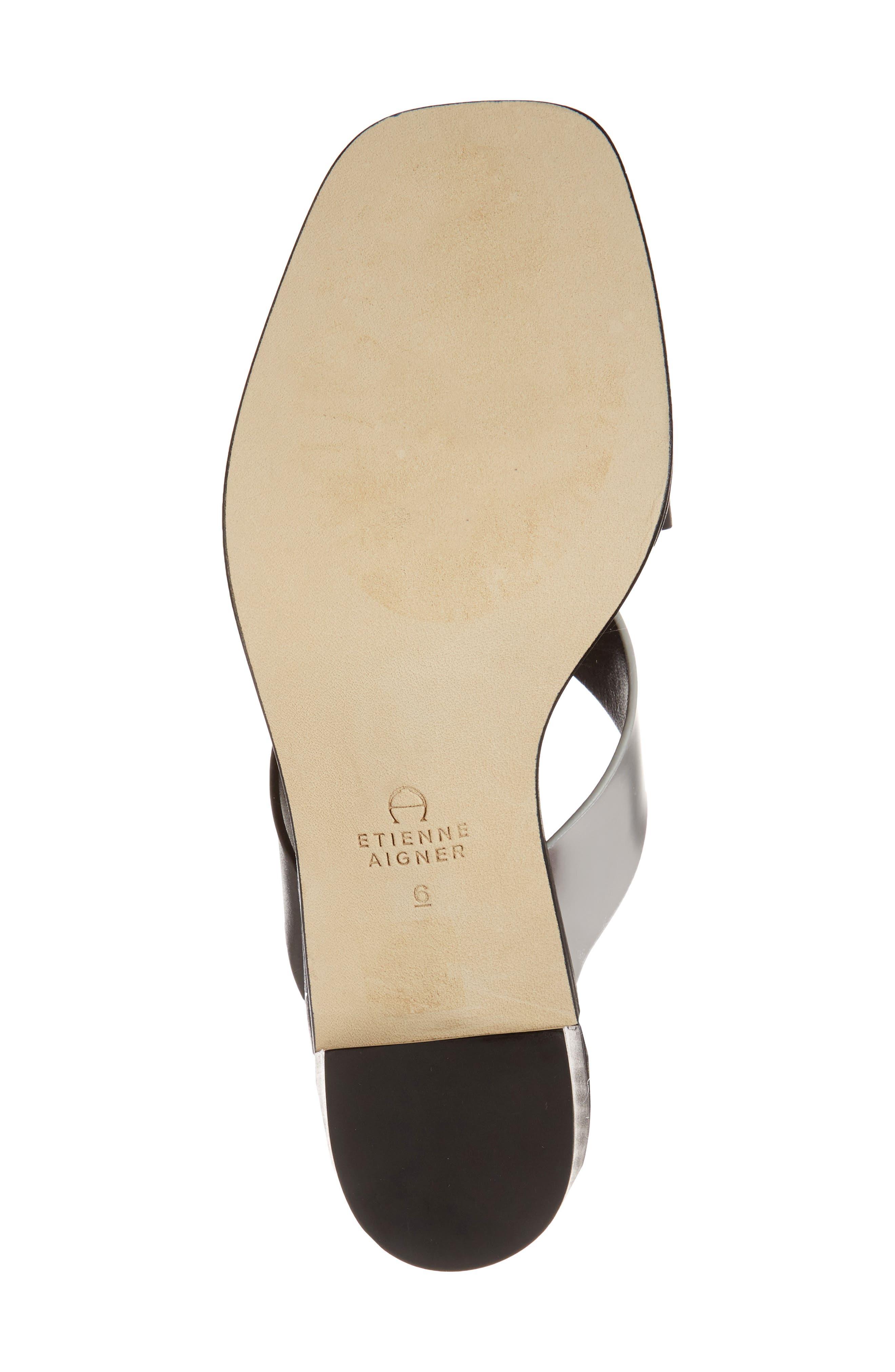 Negroni Cross Strap Mule Sandal,                             Alternate thumbnail 6, color,                             BLACK/ SILVER LEATHER