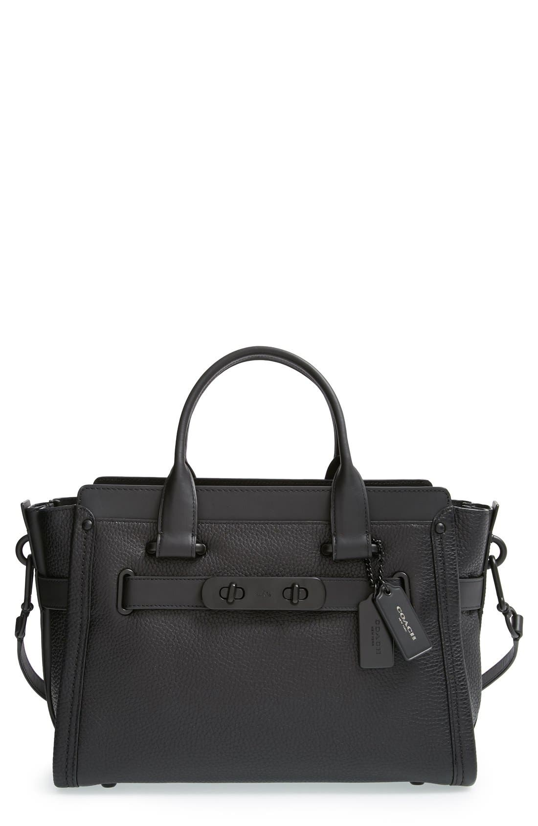 COACH 'Swagger' Pebble Leather Satchel, Main, color, 001