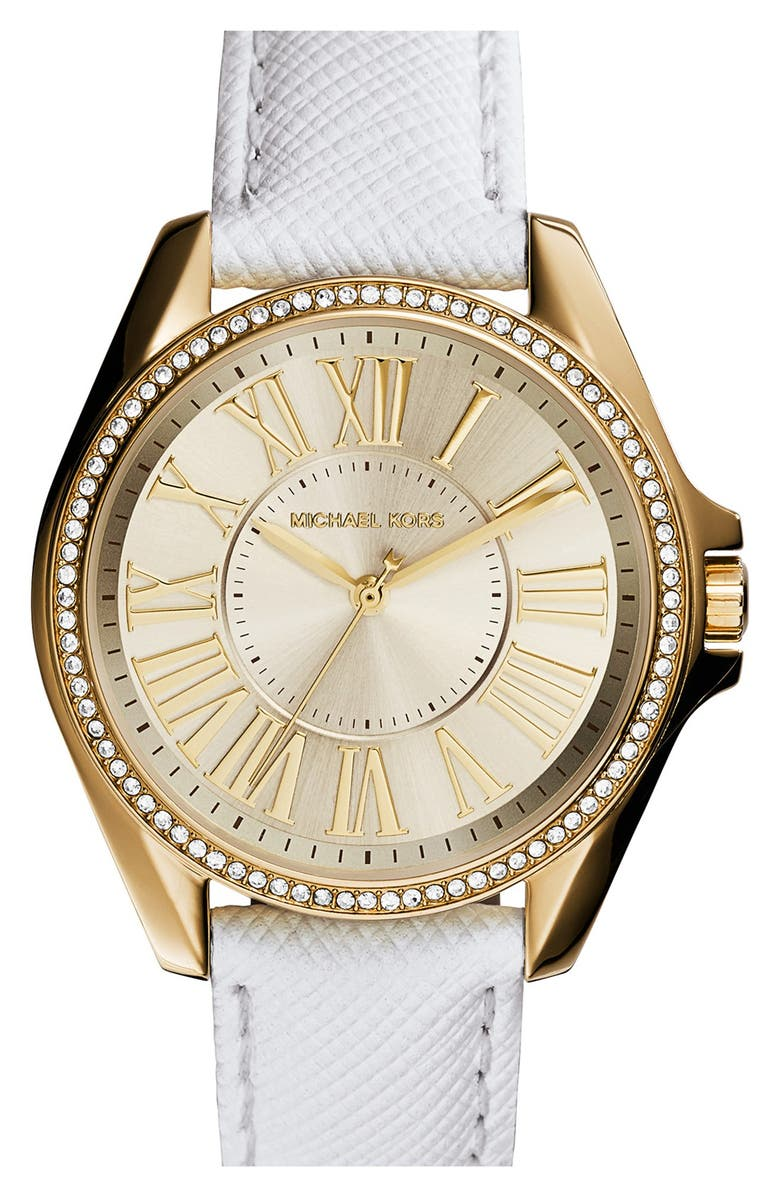 1de4cdf16ee3 Michael Kors  Kacie  Crystal Bezel Leather Strap Watch