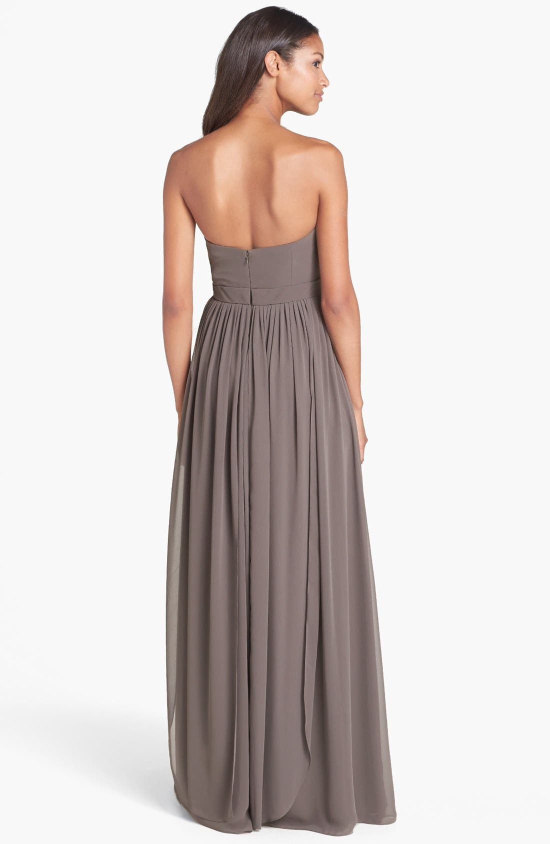 Aidan Convertible Strapless Chiffon Gown,                             Alternate thumbnail 3, color,                             020
