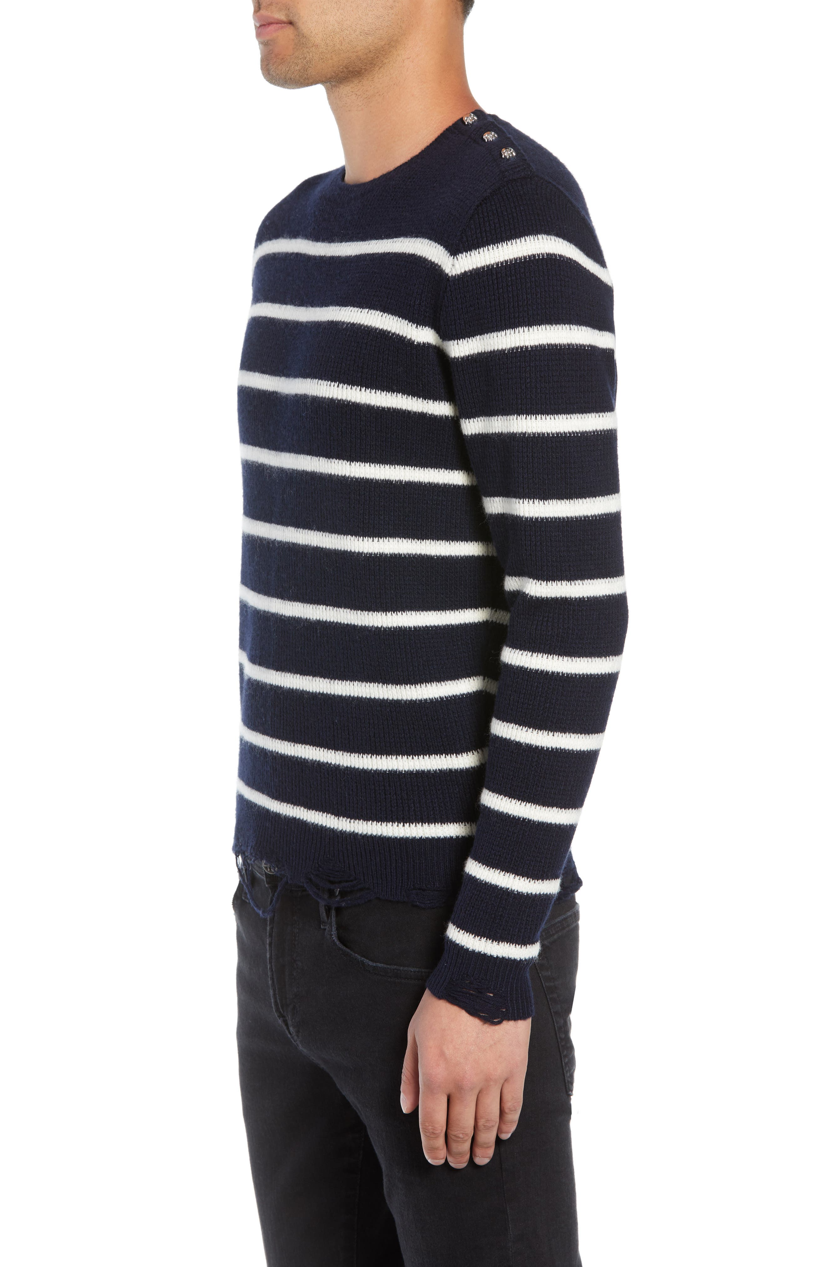 Regular Fit Striped Sweater,                             Alternate thumbnail 3, color,                             400