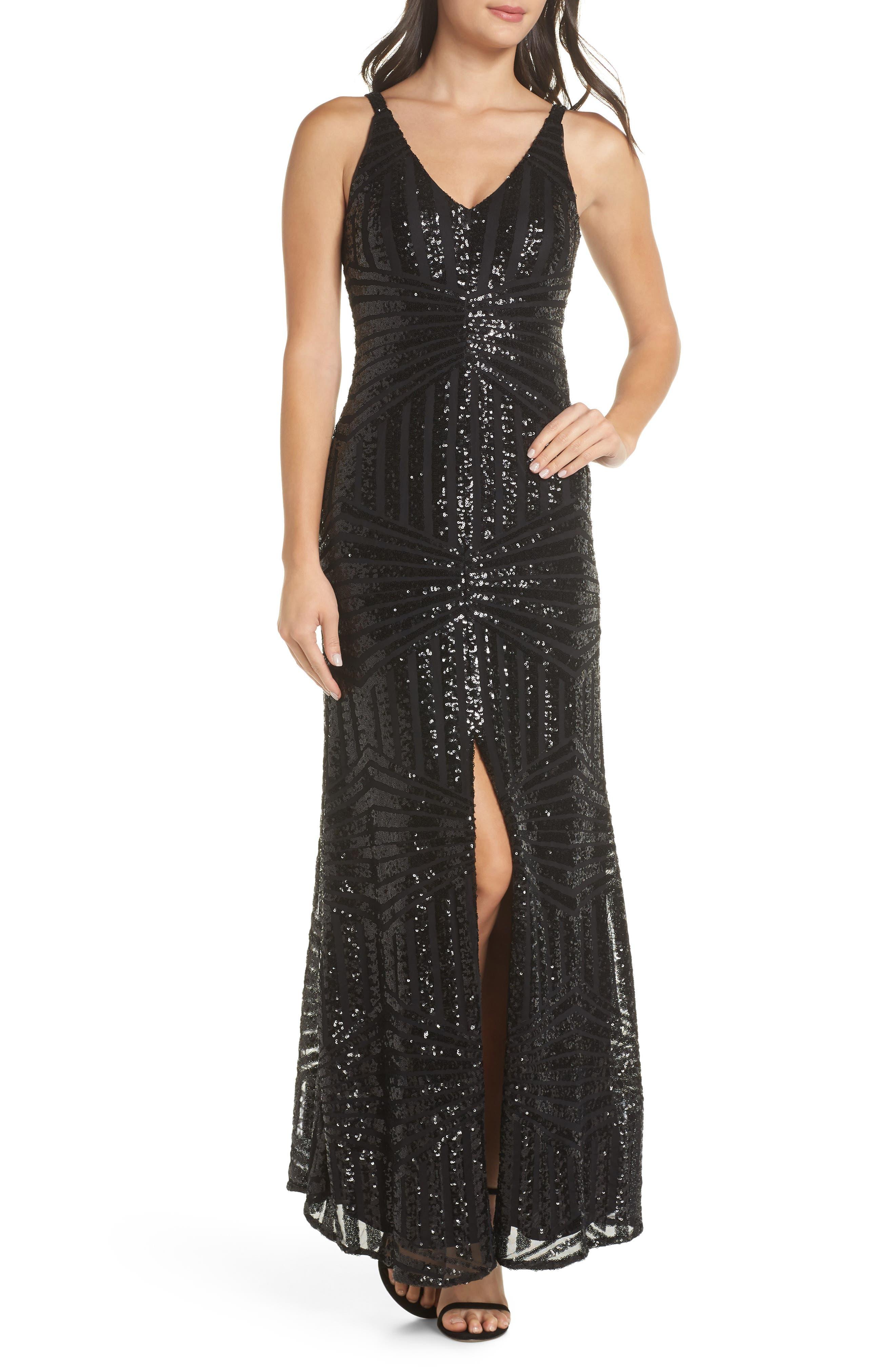 Morgan & Co. V-Neck Sequin Gown, Black