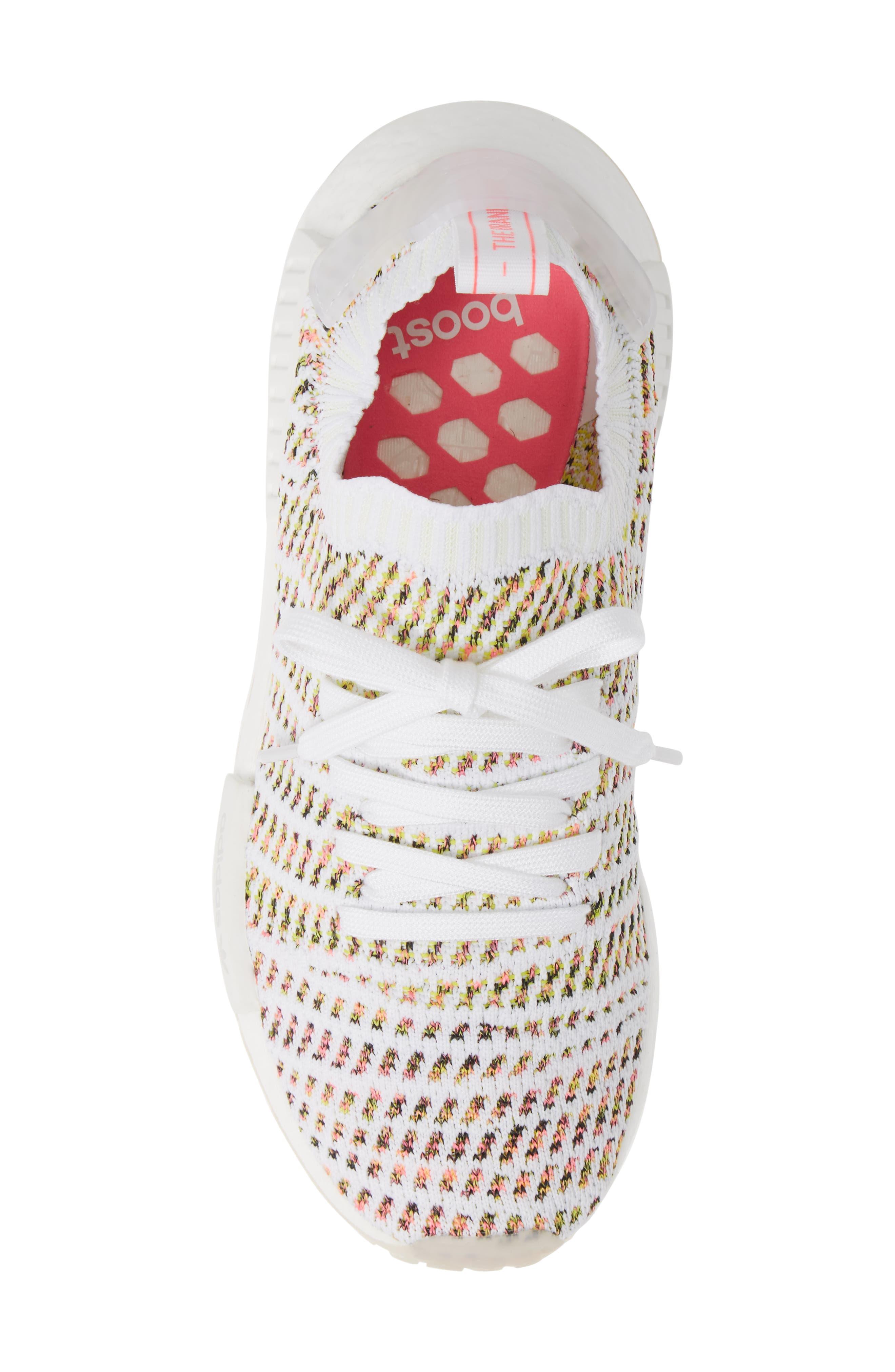 NMD R1 STLT Primeknit Sneaker,                             Alternate thumbnail 5, color,                             WHITE/ YELLOW/ SOLAR PINK