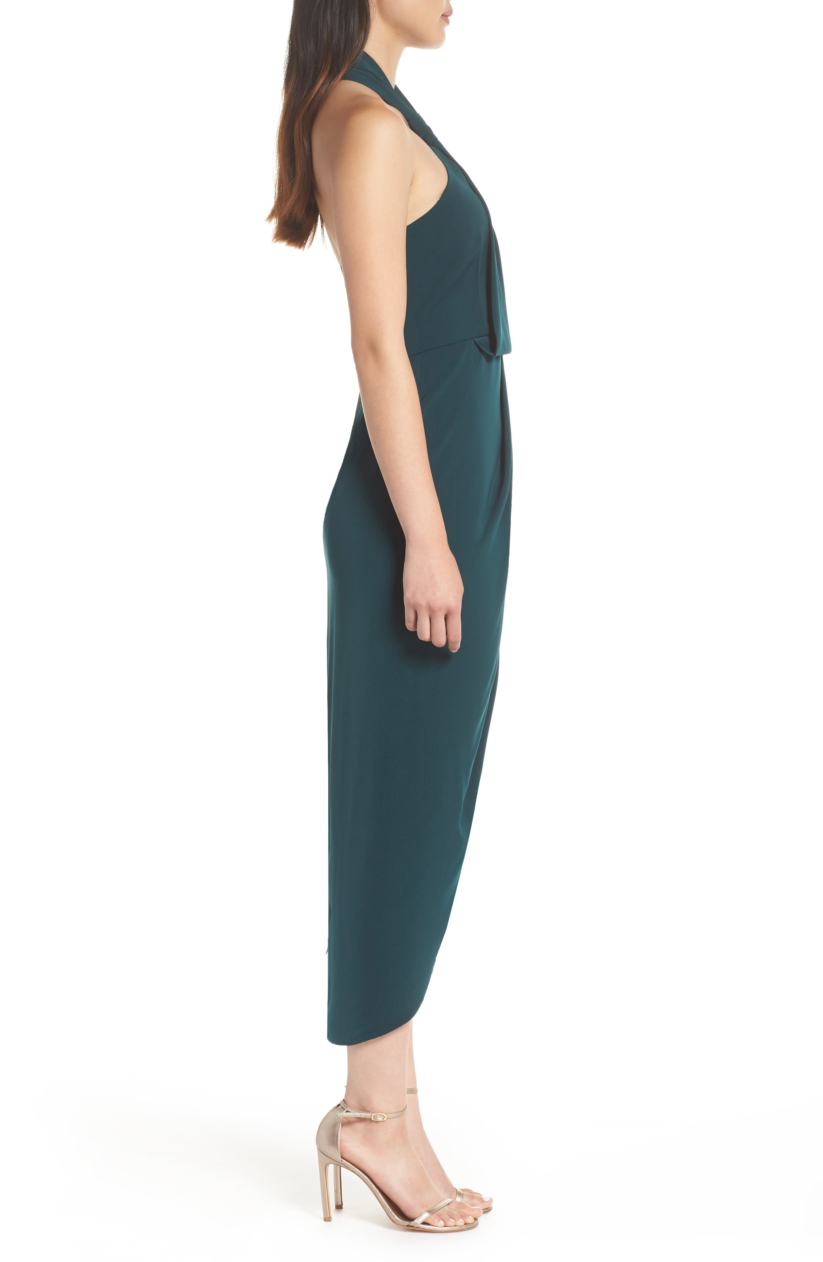 Knotted Tulip Hem Midi Dress,                             Alternate thumbnail 3, color,                             SEAWEED