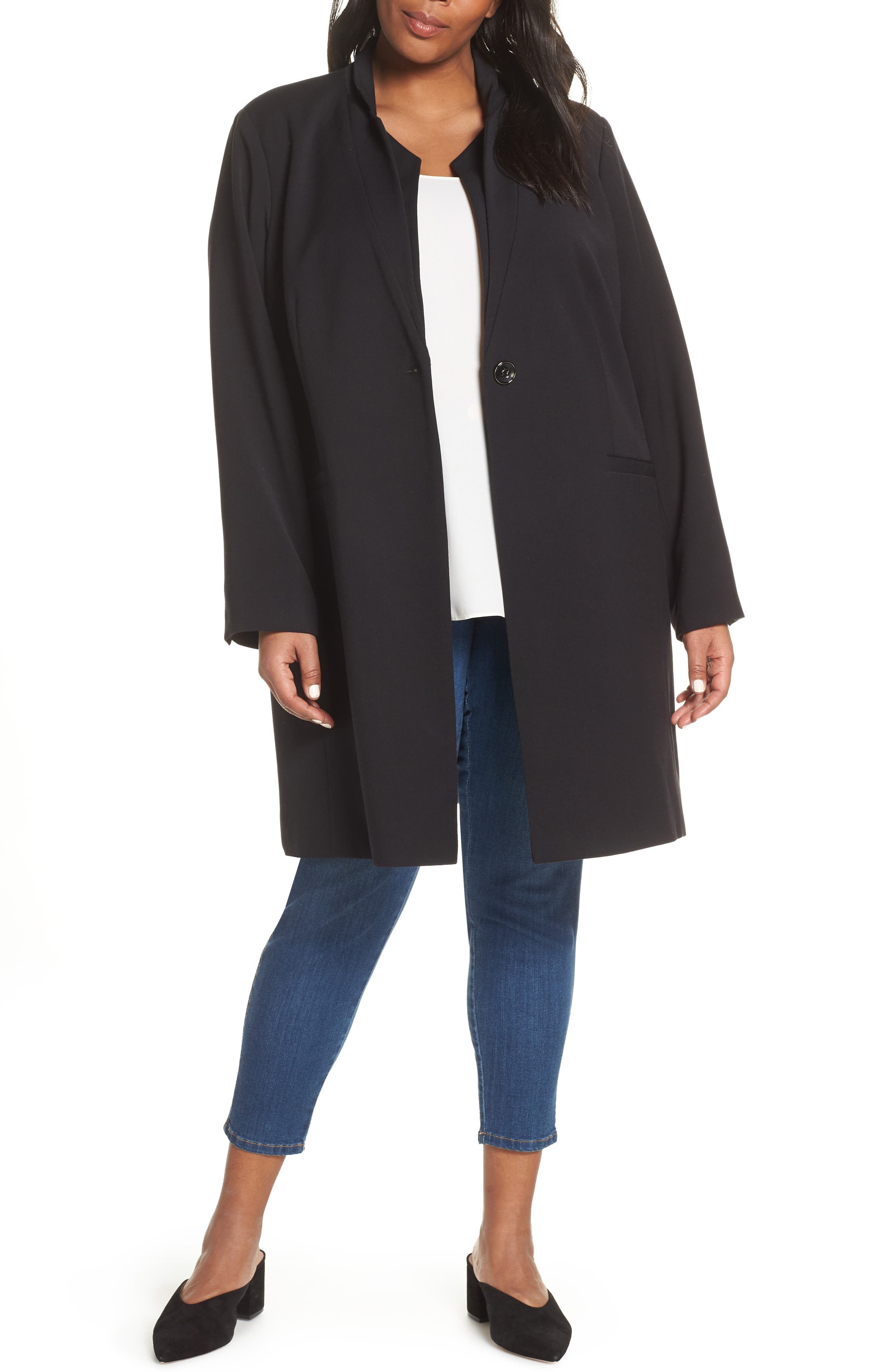 KENNETH COLE NEW YORK,                             Inverted Collar Ponte Jacket,                             Main thumbnail 1, color,                             BLACK