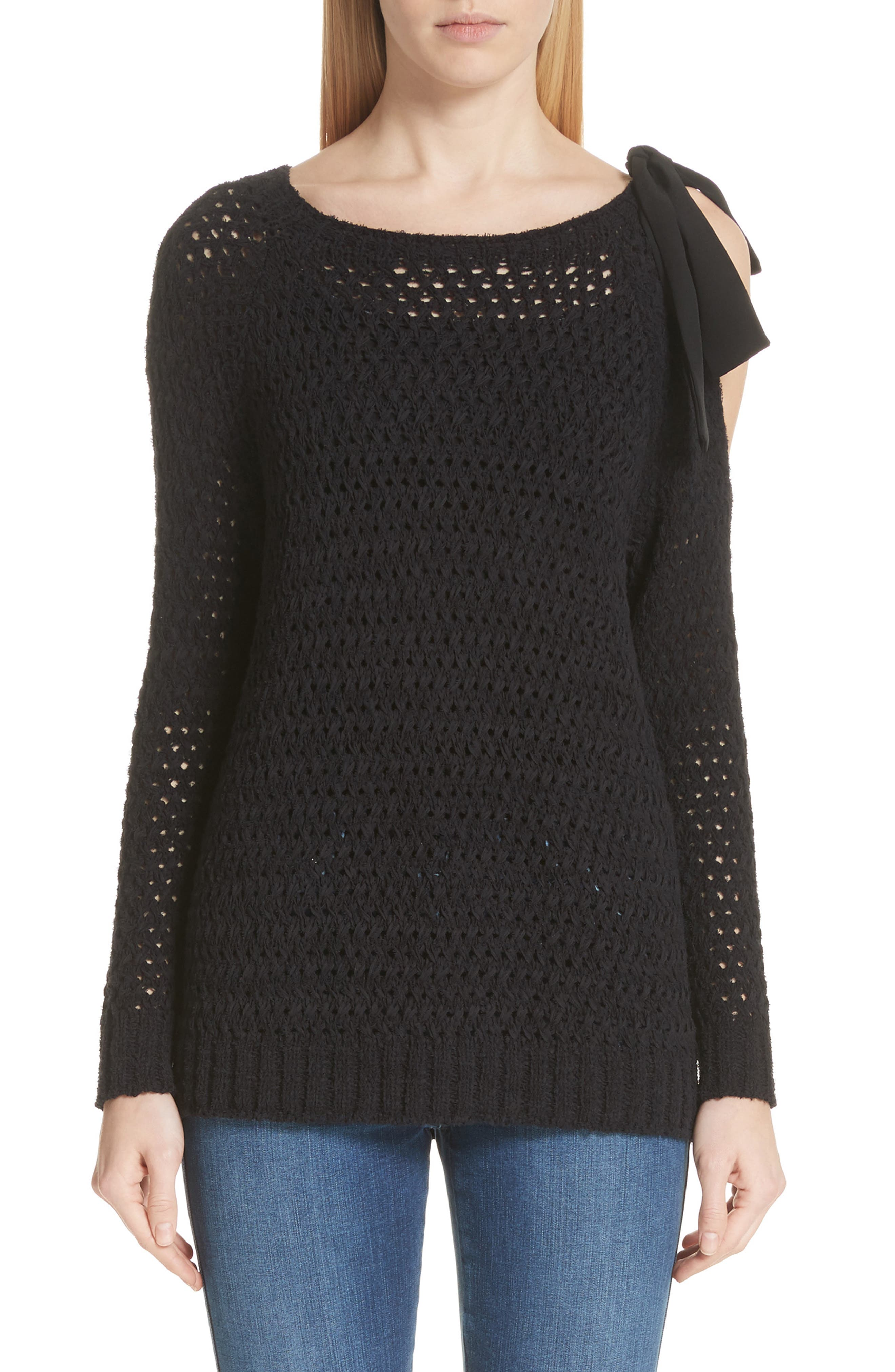 Crisscross Open Stitch Cold Shoulder Sweater,                         Main,                         color, CAVIAR