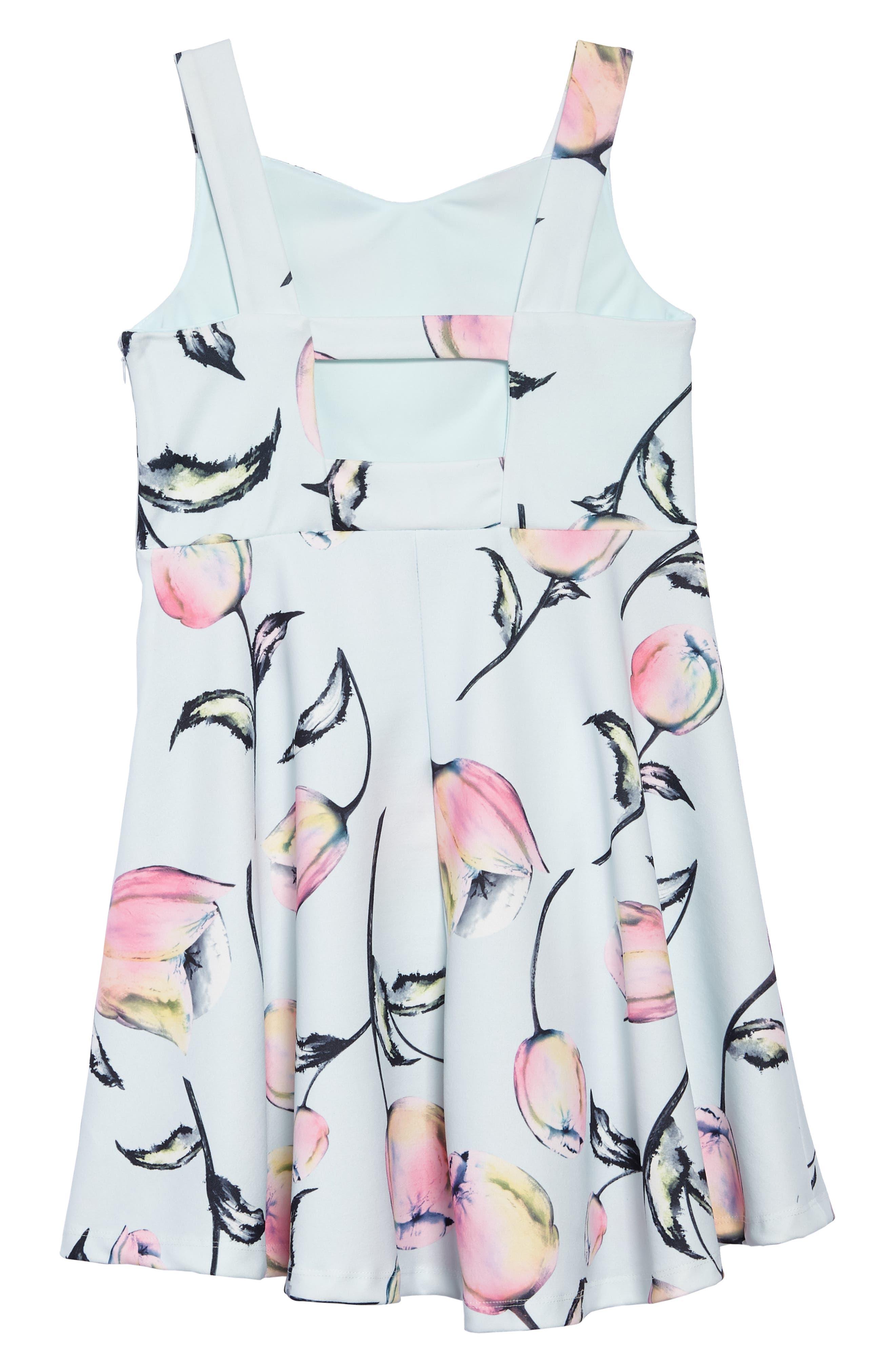 Tulip Print Sleeveless Dress,                             Alternate thumbnail 2, color,                             400