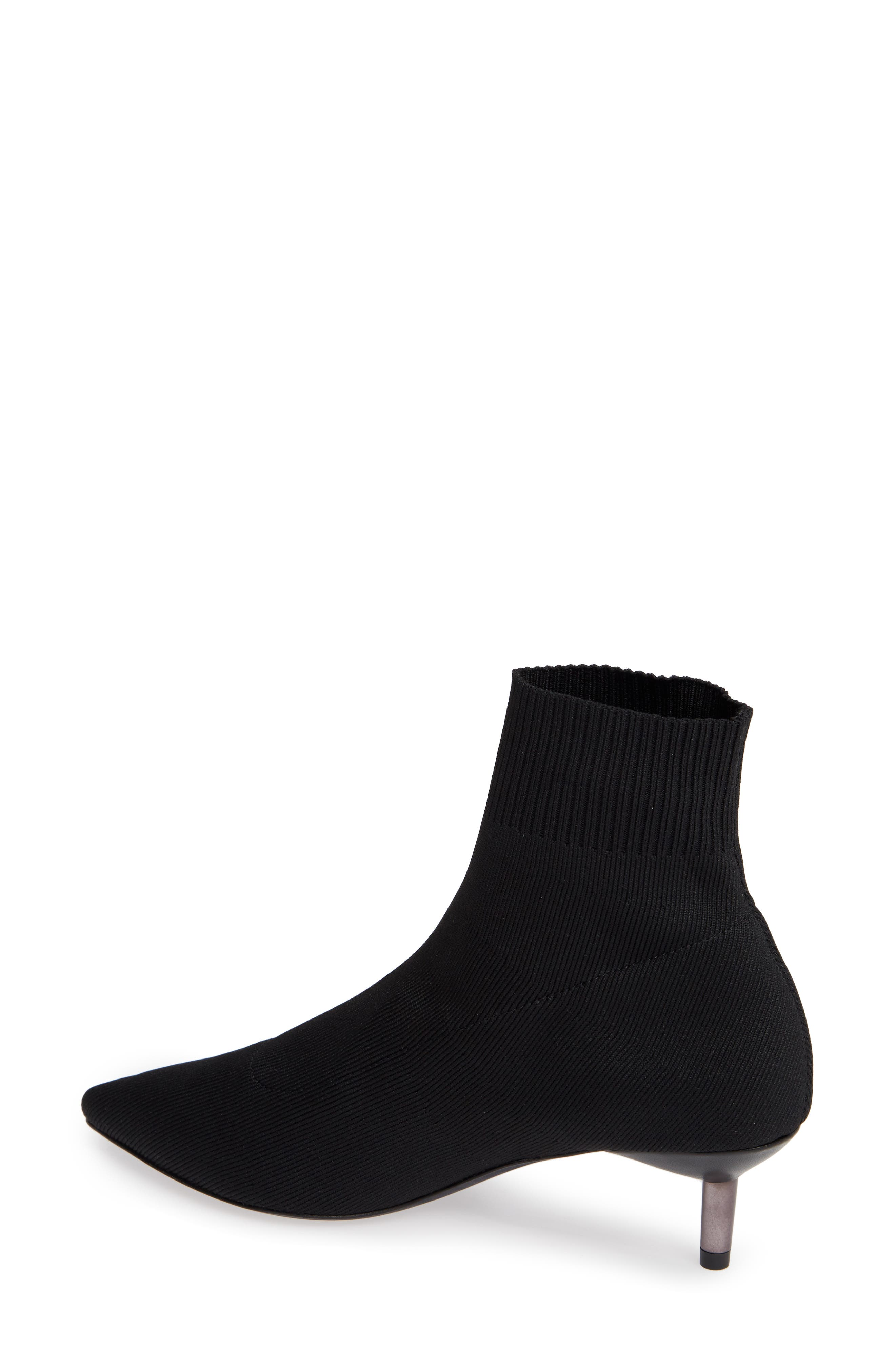 Betti Stretch Bootie,                             Alternate thumbnail 2, color,                             BLACK KNIT FABRIC