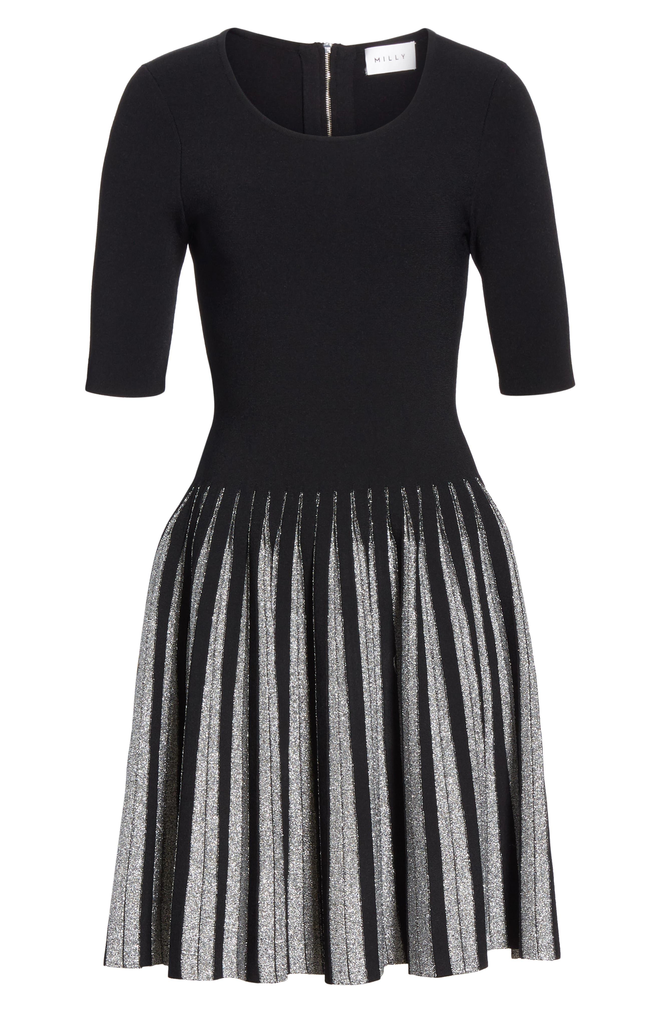 Metallic Pleat Fit & Flare Dress,                             Alternate thumbnail 6, color,                             BLACK/ SILVER