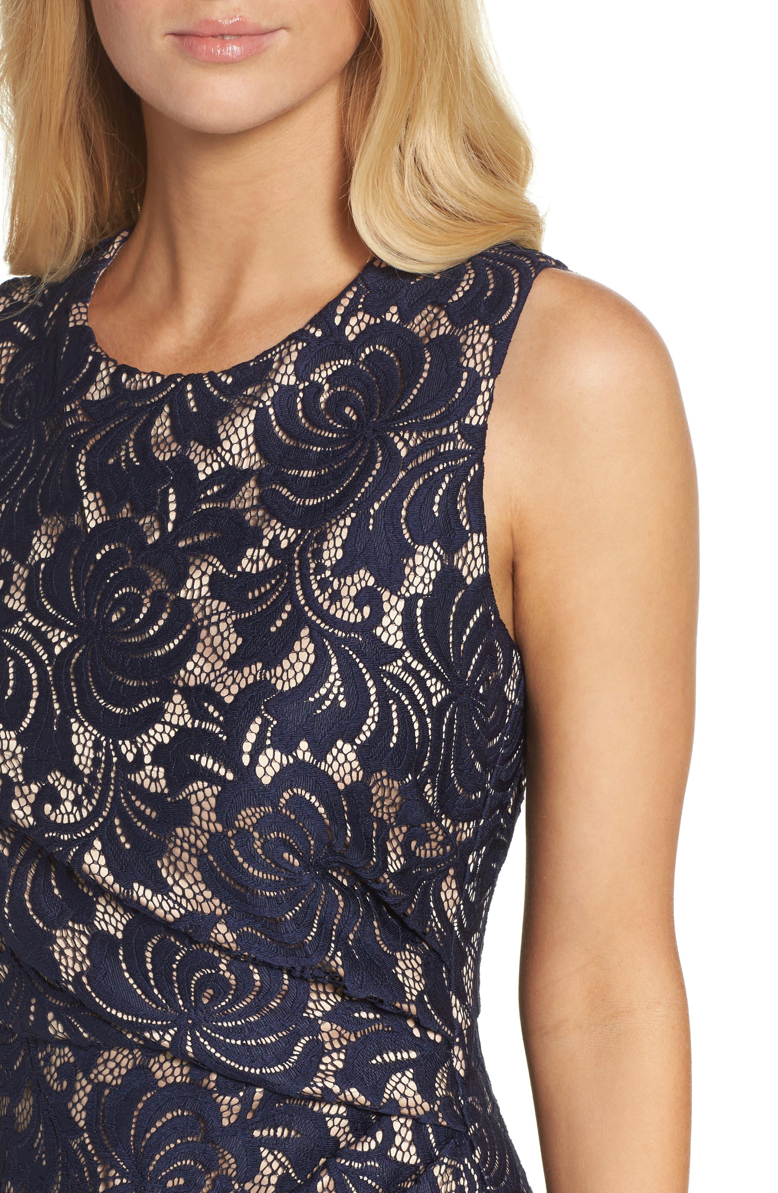 Lace Midi Dress,                             Alternate thumbnail 4, color,