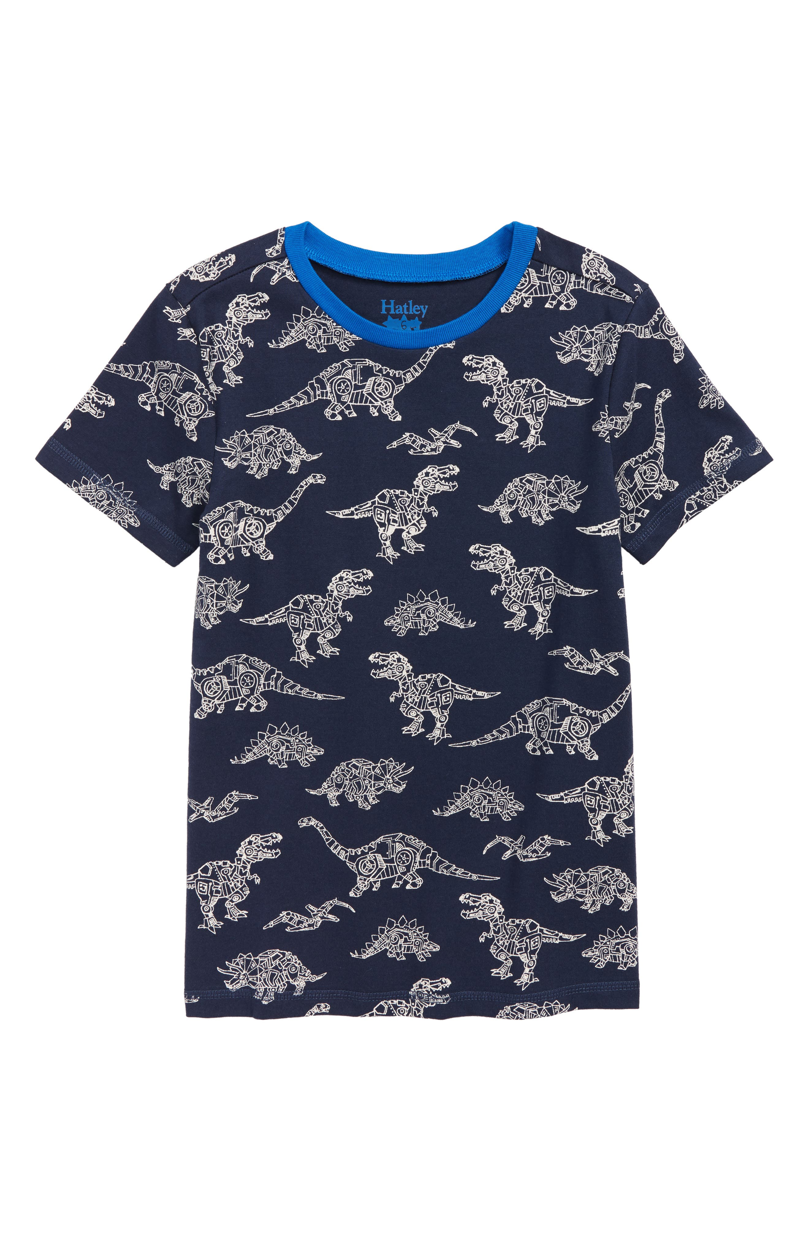 Robotic Dino Print T-Shirt,                             Main thumbnail 1, color,                             BLUE