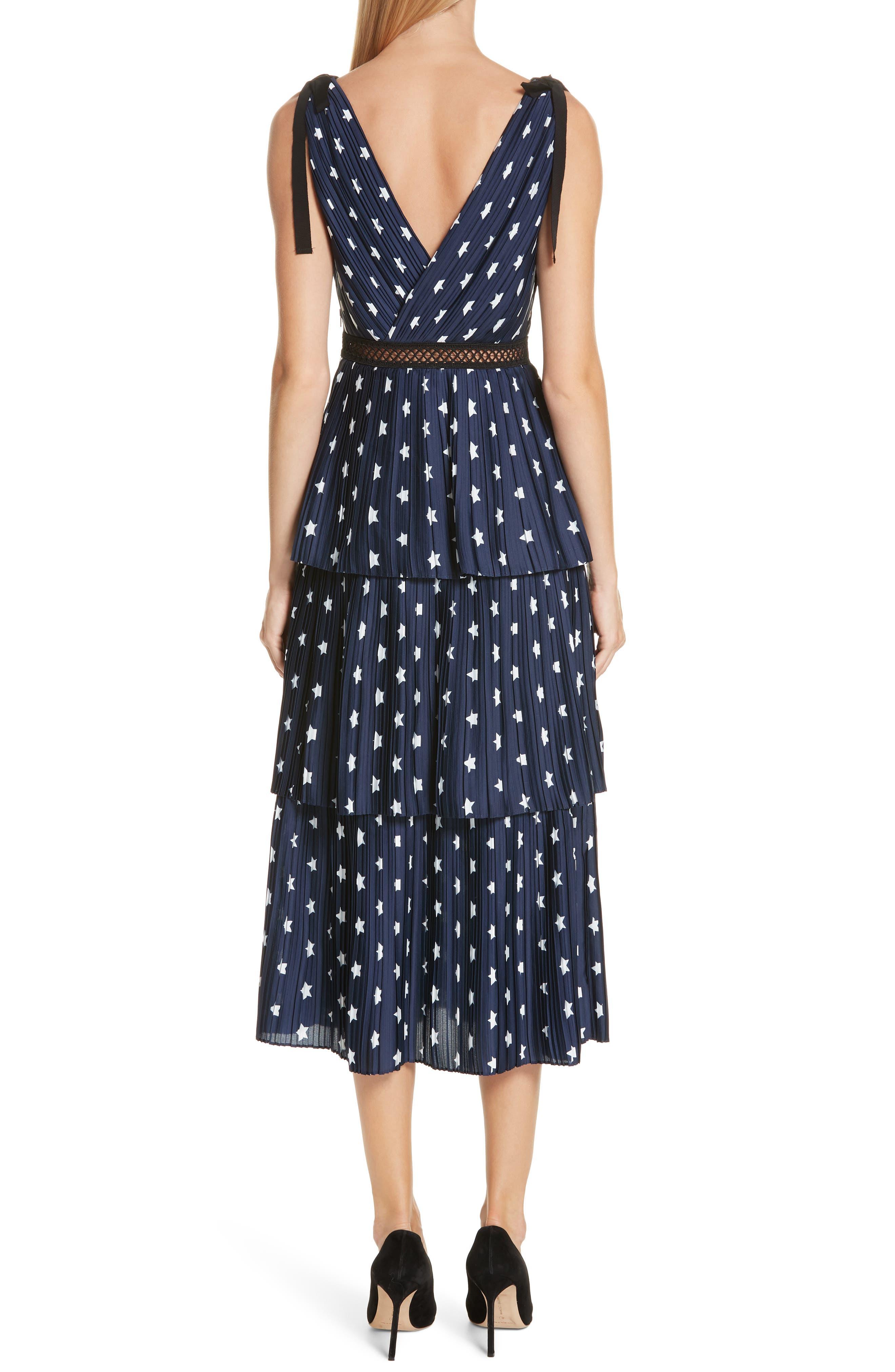 Star Print Tiered Midi Dress,                             Alternate thumbnail 2, color,                             400