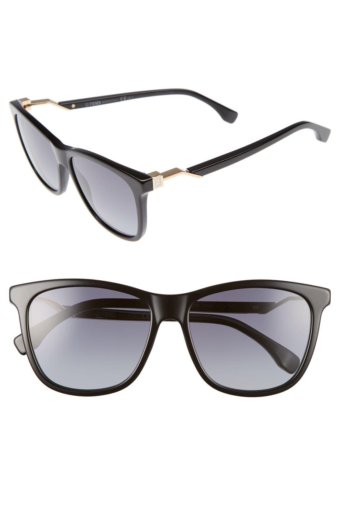 55mm Cube Retro Sunglasses,                             Main thumbnail 1, color,