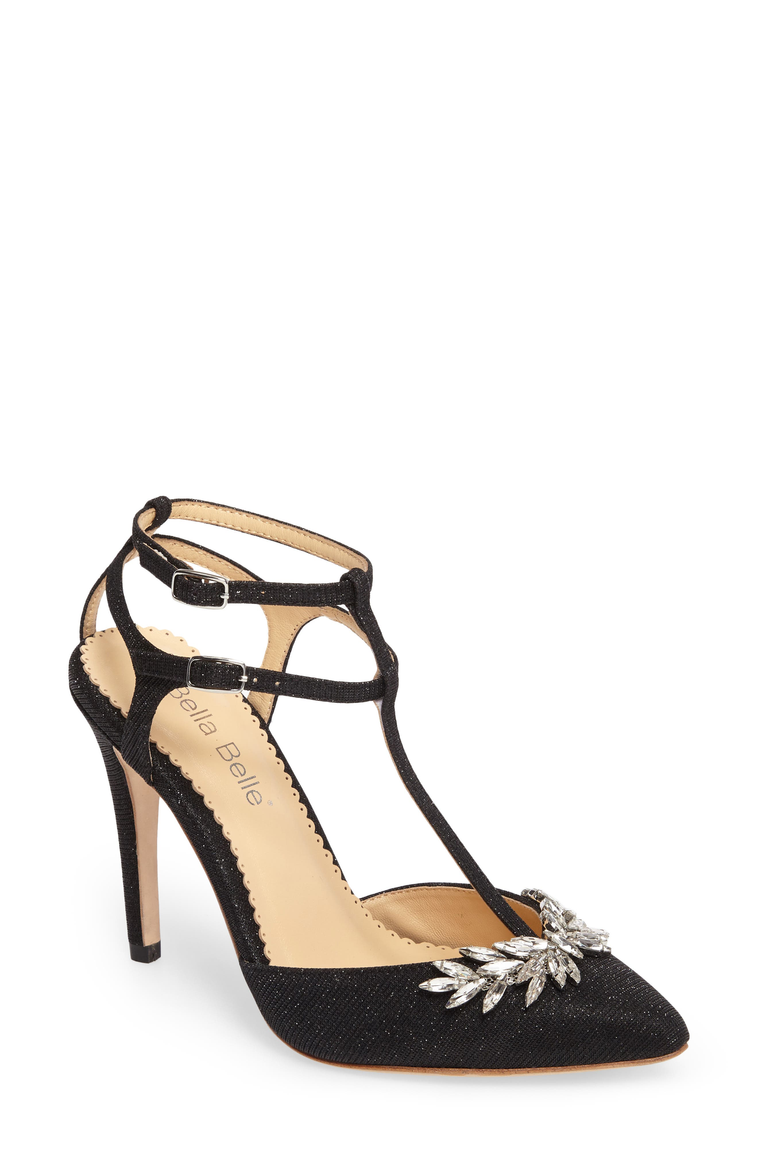 Payge Embellished T-Strap Pump,                         Main,                         color, BLACK FABRIC