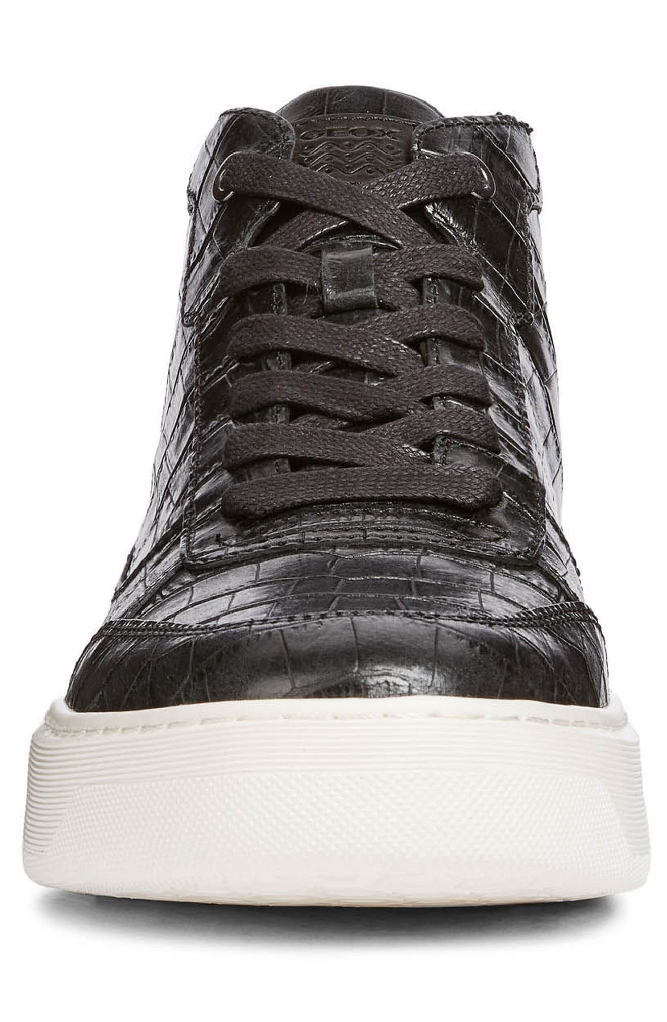 Deiven 9 High Top Sneaker,                             Alternate thumbnail 4, color,                             BLACK LEATHER
